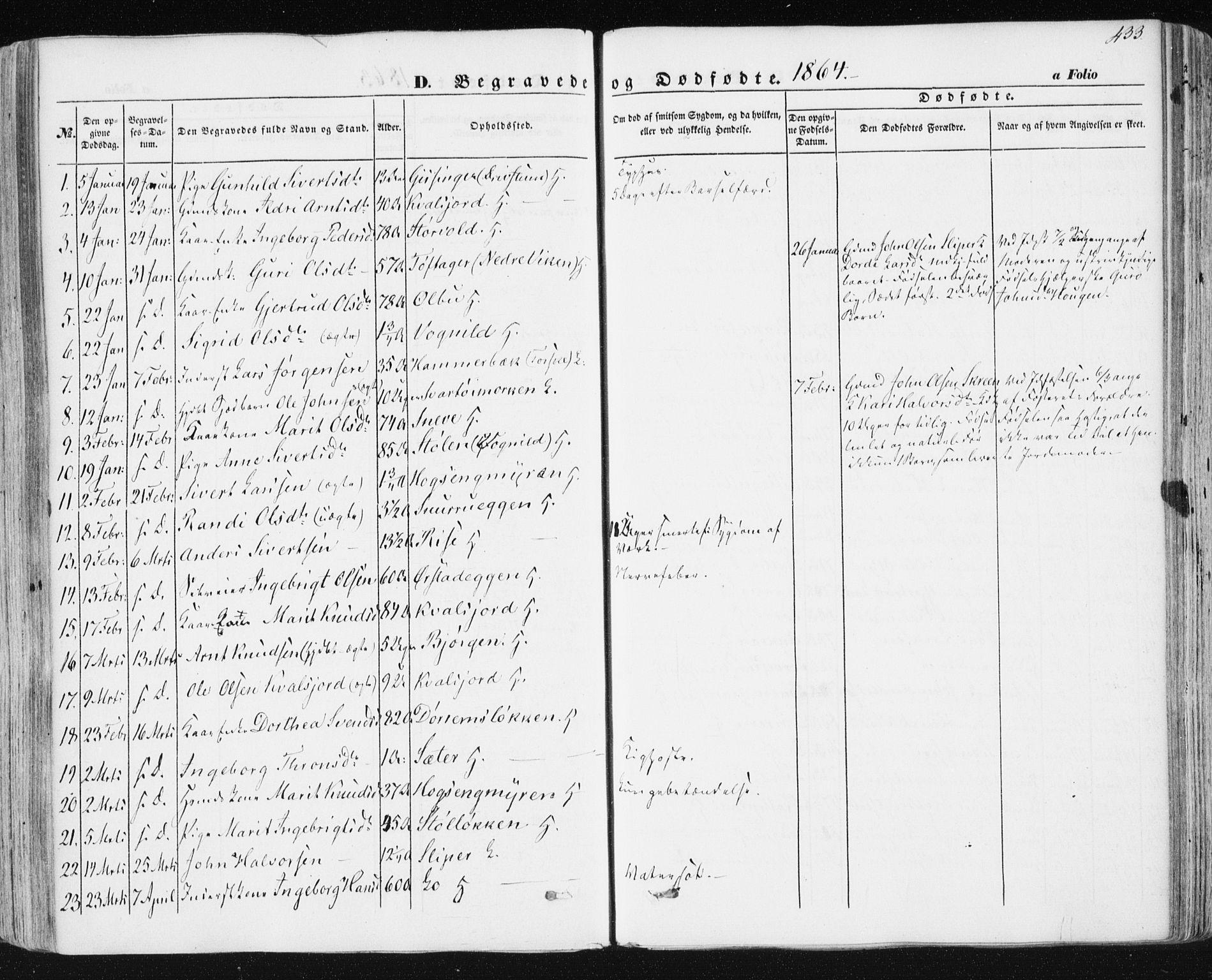 SAT, Ministerialprotokoller, klokkerbøker og fødselsregistre - Sør-Trøndelag, 678/L0899: Ministerialbok nr. 678A08, 1848-1872, s. 433