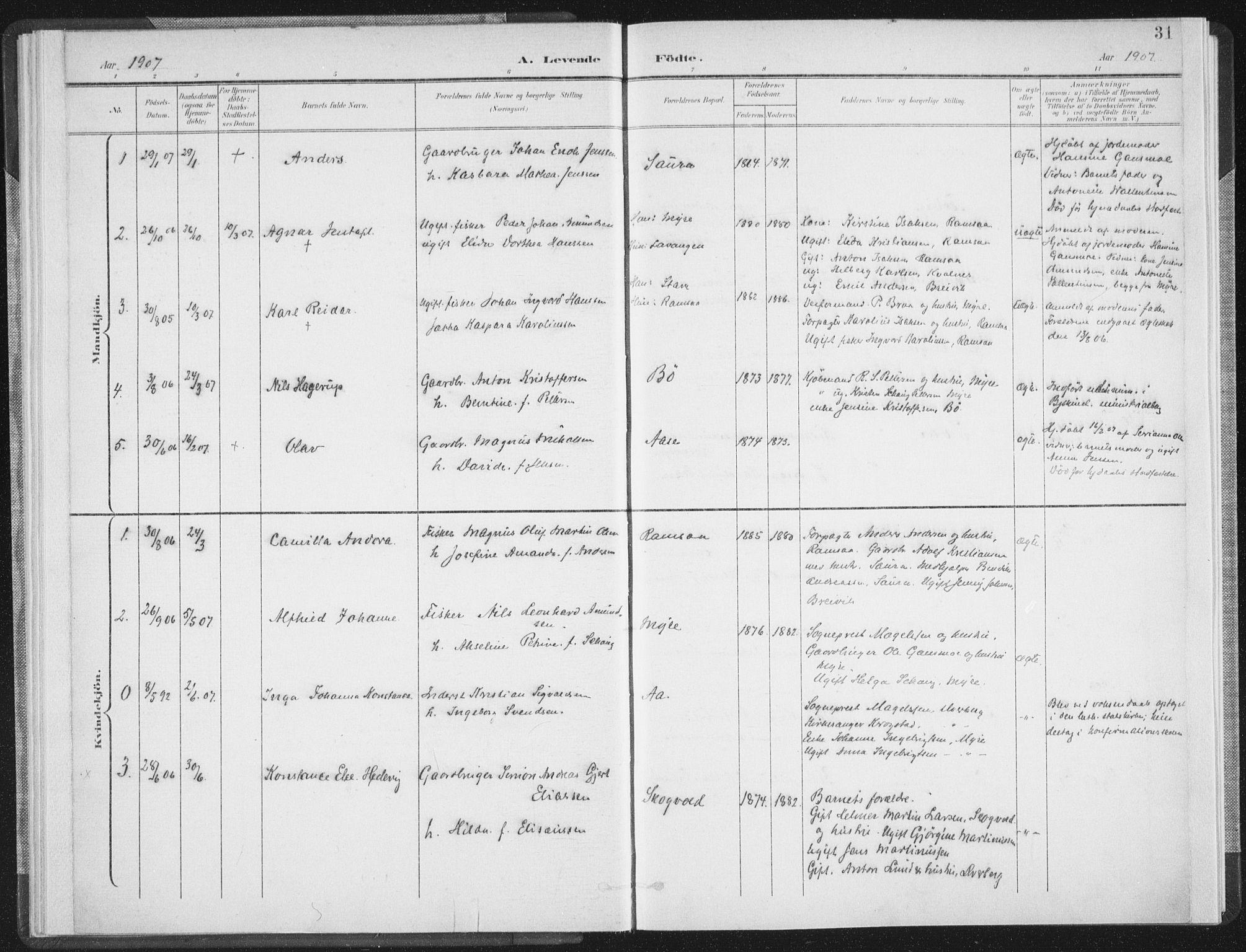 SAT, Ministerialprotokoller, klokkerbøker og fødselsregistre - Nordland, 897/L1400: Ministerialbok nr. 897A07, 1897-1908, s. 31