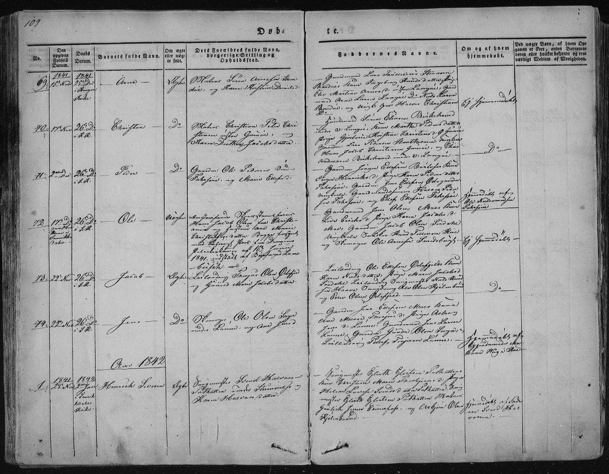 SAKO, Sannidal kirkebøker, F/Fa/L0006: Ministerialbok nr. 6, 1831-1847, s. 109