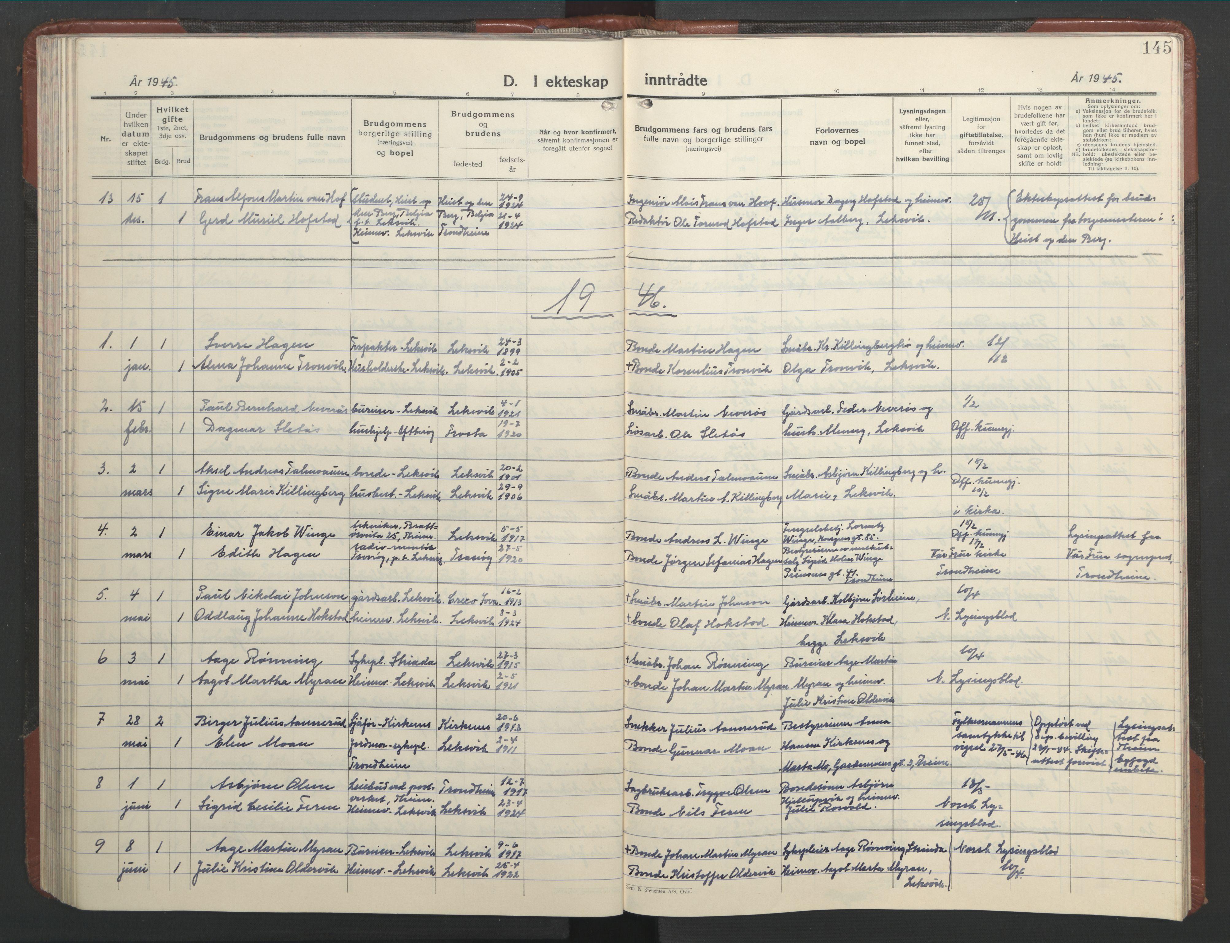 SAT, Ministerialprotokoller, klokkerbøker og fødselsregistre - Nord-Trøndelag, 701/L0019: Klokkerbok nr. 701C03, 1930-1953, s. 145