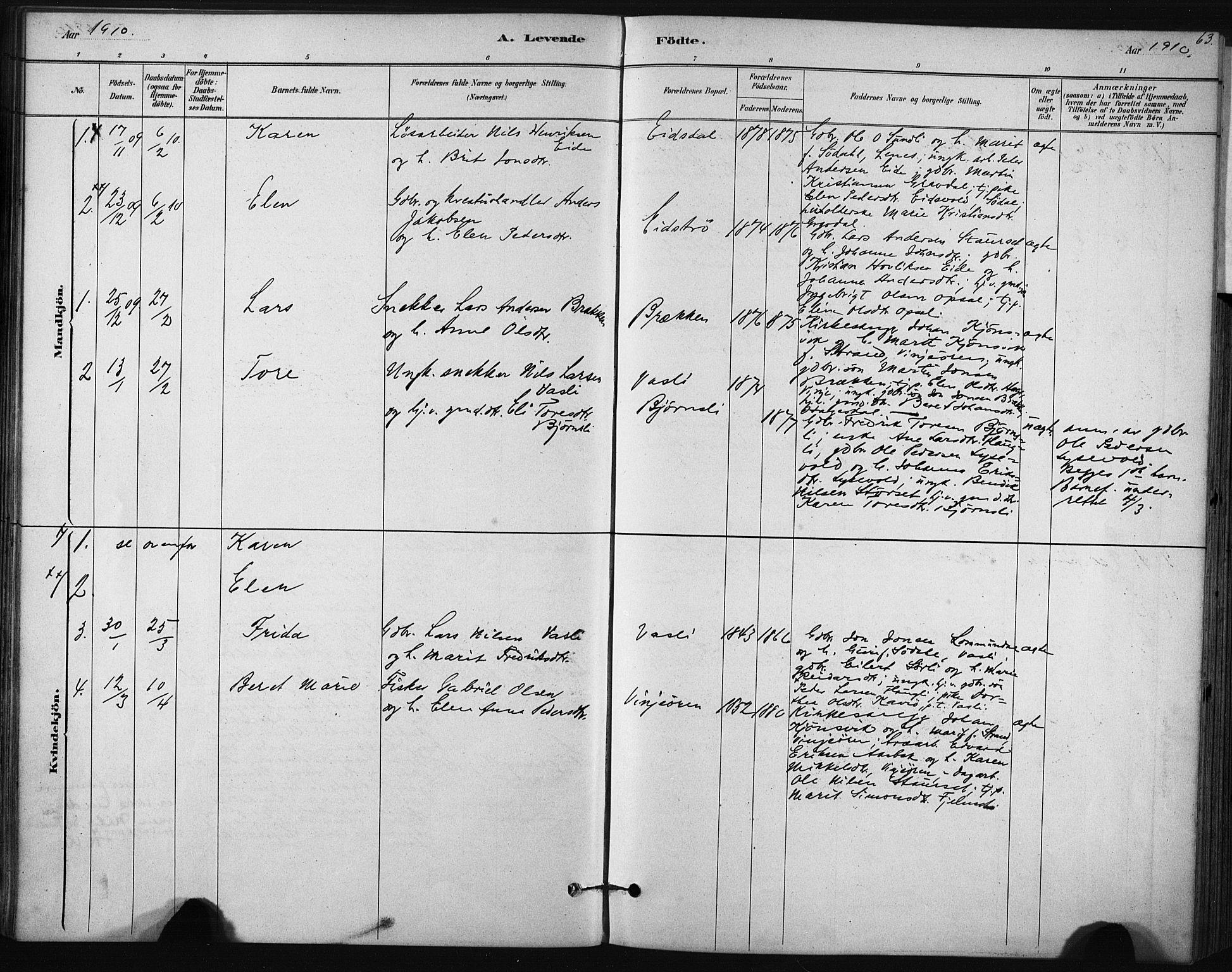 SAT, Ministerialprotokoller, klokkerbøker og fødselsregistre - Sør-Trøndelag, 631/L0512: Ministerialbok nr. 631A01, 1879-1912, s. 63
