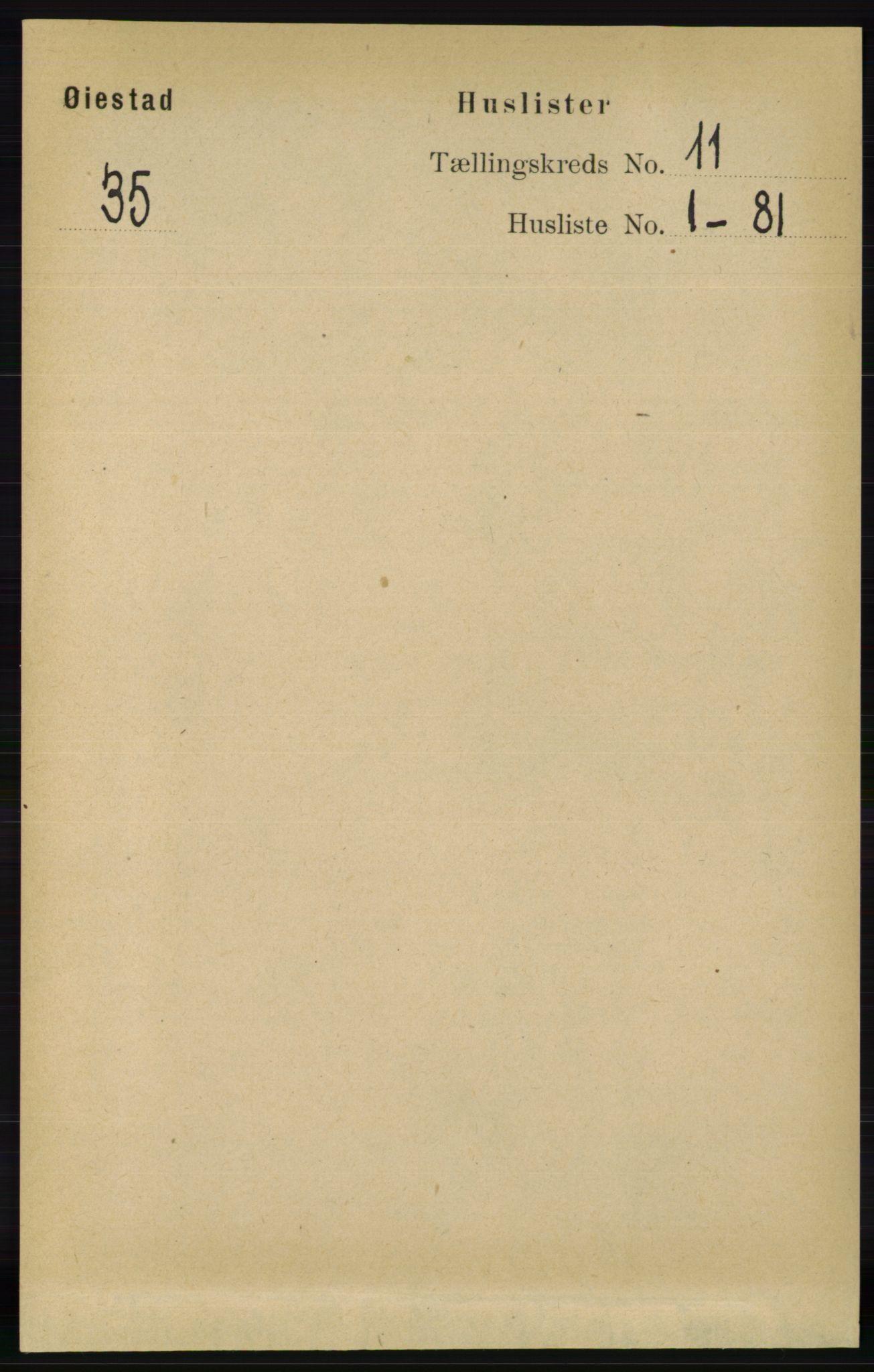 RA, Folketelling 1891 for 0920 Øyestad herred, 1891, s. 4728