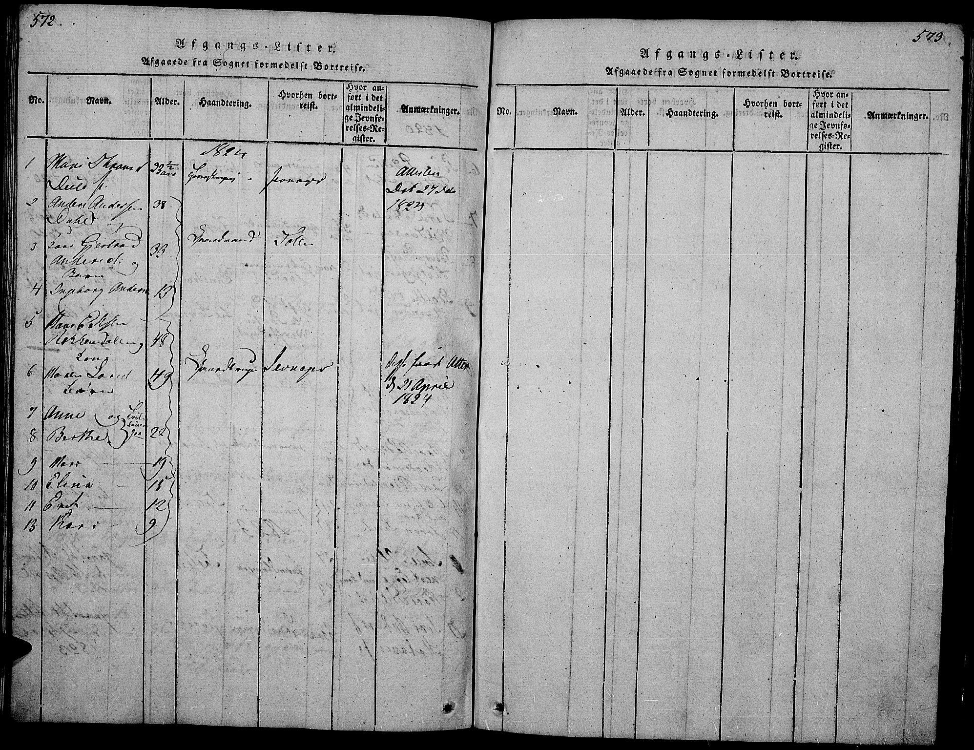 SAH, Gran prestekontor, Klokkerbok nr. 1, 1815-1824, s. 572-573