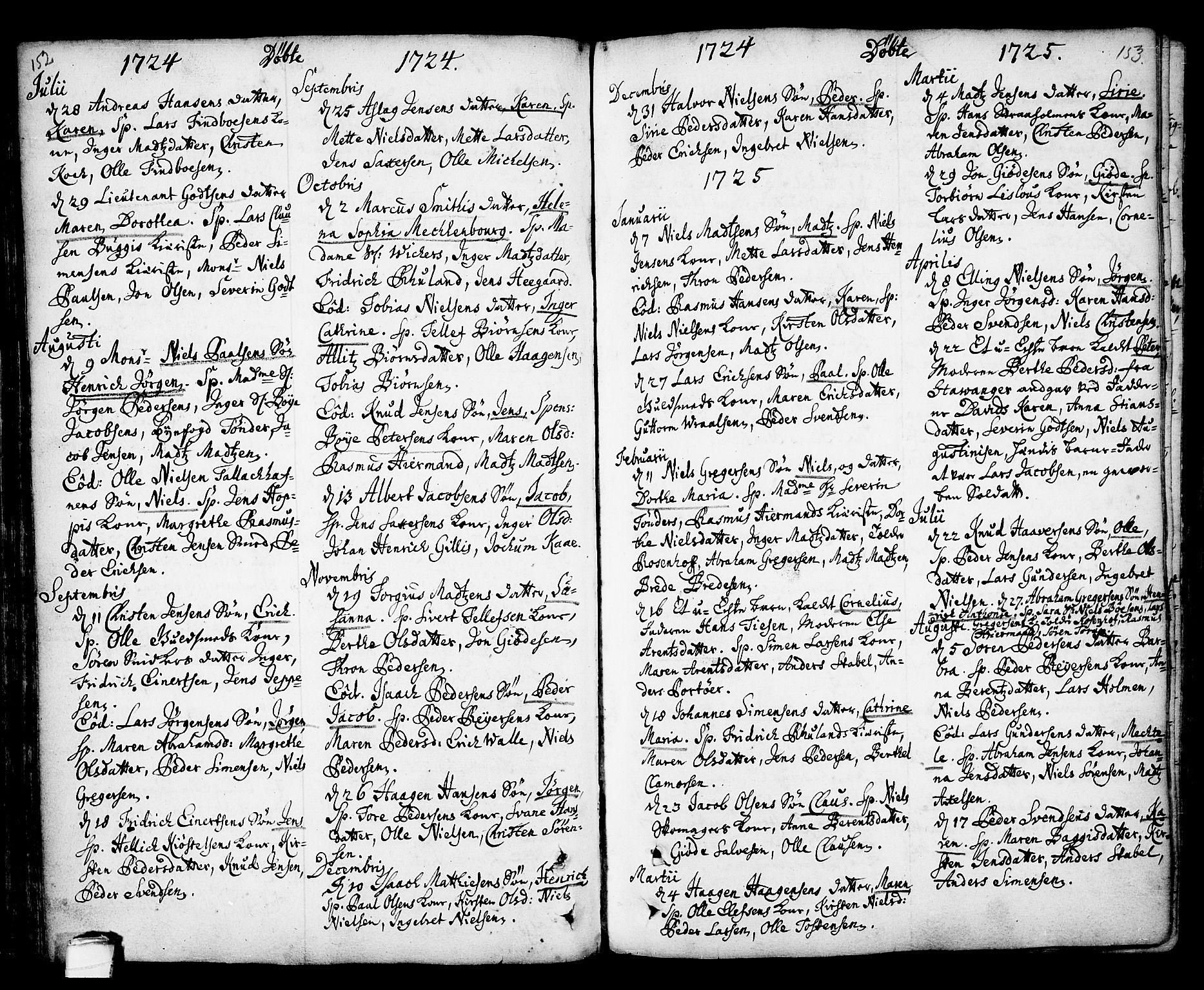 SAKO, Kragerø kirkebøker, F/Fa/L0001: Ministerialbok nr. 1, 1702-1766, s. 152-153