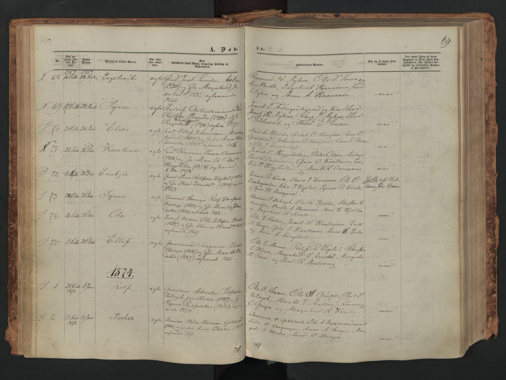 SAH, Skjåk prestekontor, Ministerialbok nr. 1, 1863-1879, s. 69