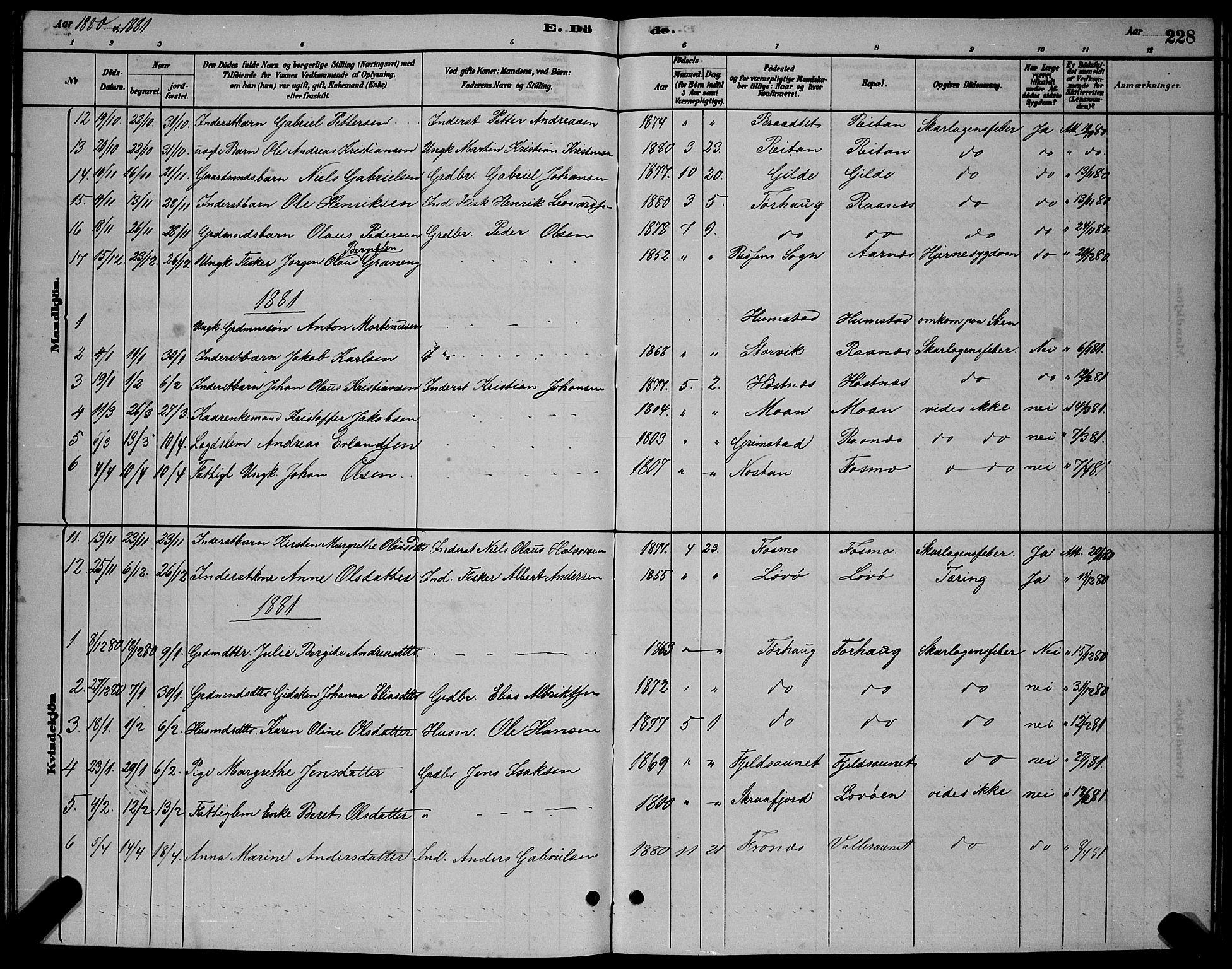 SAT, Ministerialprotokoller, klokkerbøker og fødselsregistre - Sør-Trøndelag, 655/L0687: Klokkerbok nr. 655C03, 1880-1898, s. 228