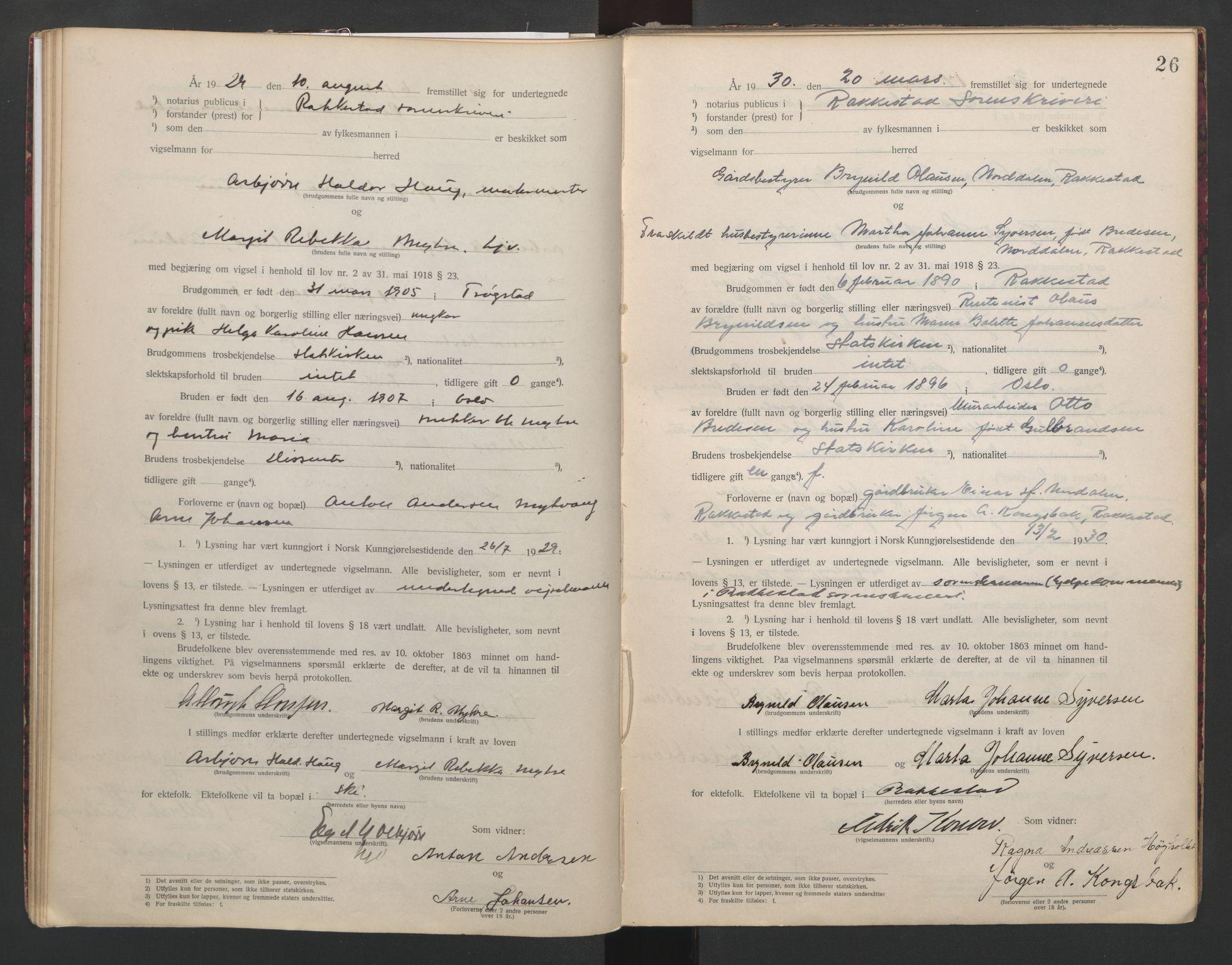 SAO, Rakkestad sorenskriveri, L/Lc/Lca/L0001: Vigselbøker, 1920-1942, s. 26