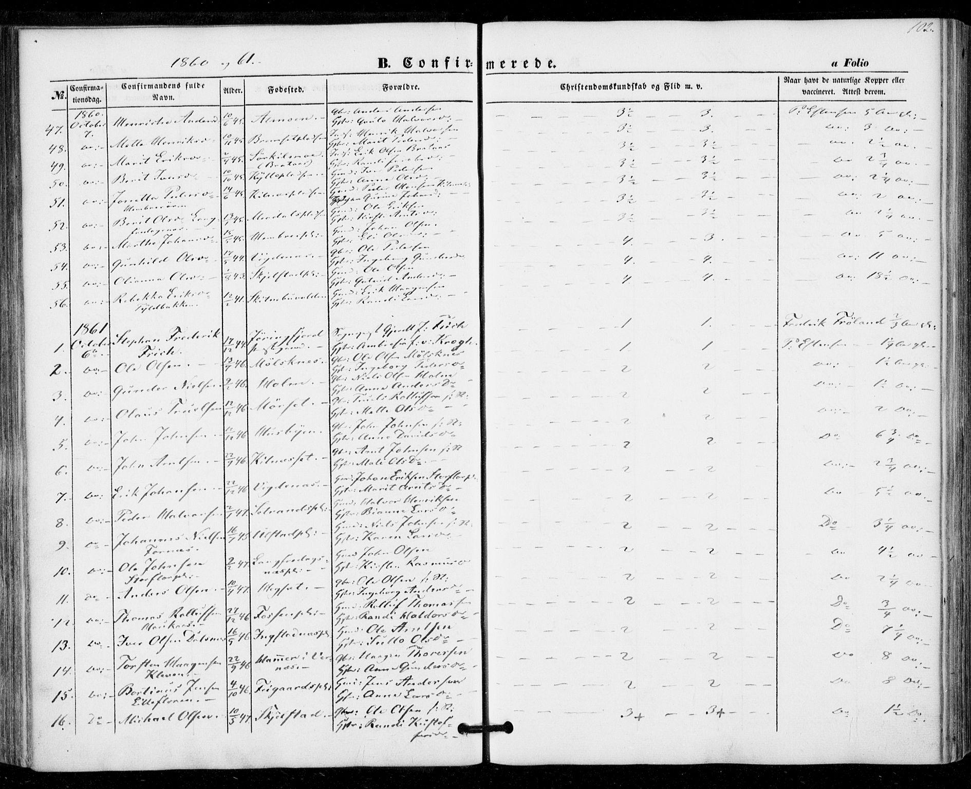 SAT, Ministerialprotokoller, klokkerbøker og fødselsregistre - Nord-Trøndelag, 703/L0028: Ministerialbok nr. 703A01, 1850-1862, s. 102