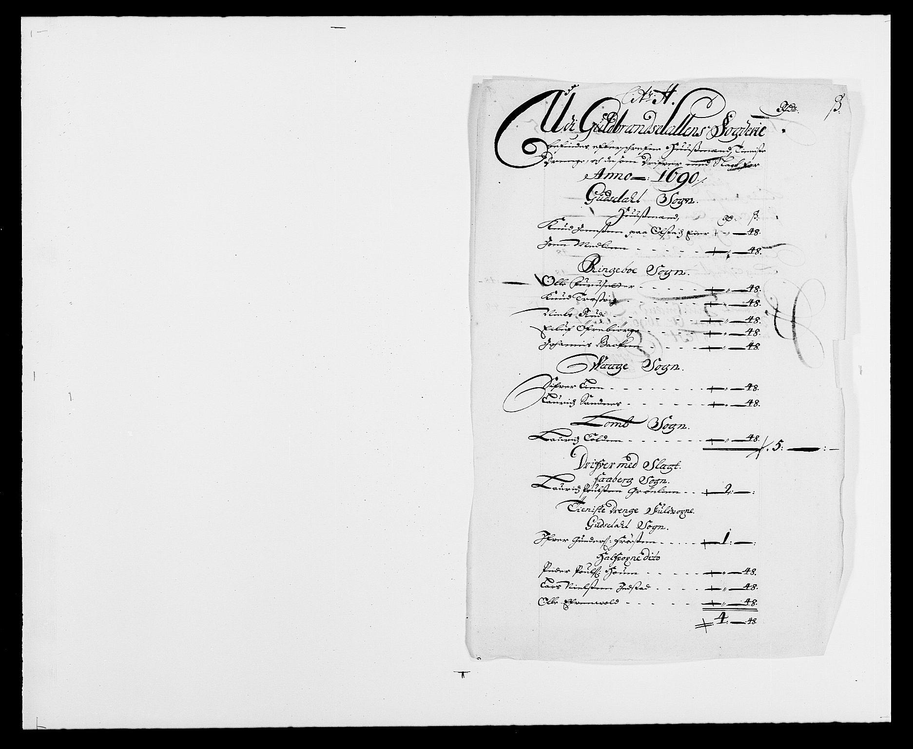 RA, Rentekammeret inntil 1814, Reviderte regnskaper, Fogderegnskap, R17/L1165: Fogderegnskap Gudbrandsdal, 1690-1692, s. 144