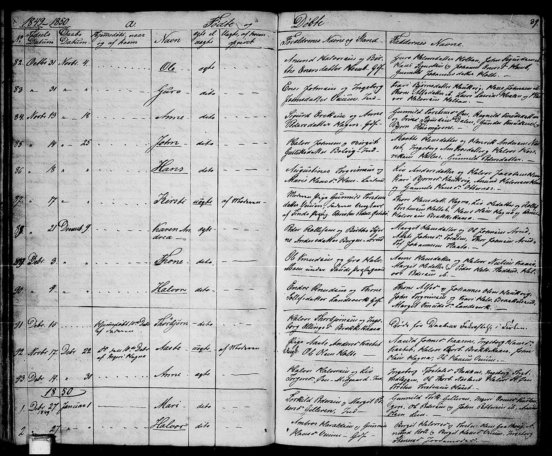 SAKO, Sauherad kirkebøker, G/Ga/L0002: Klokkerbok nr. I 2, 1842-1866, s. 39