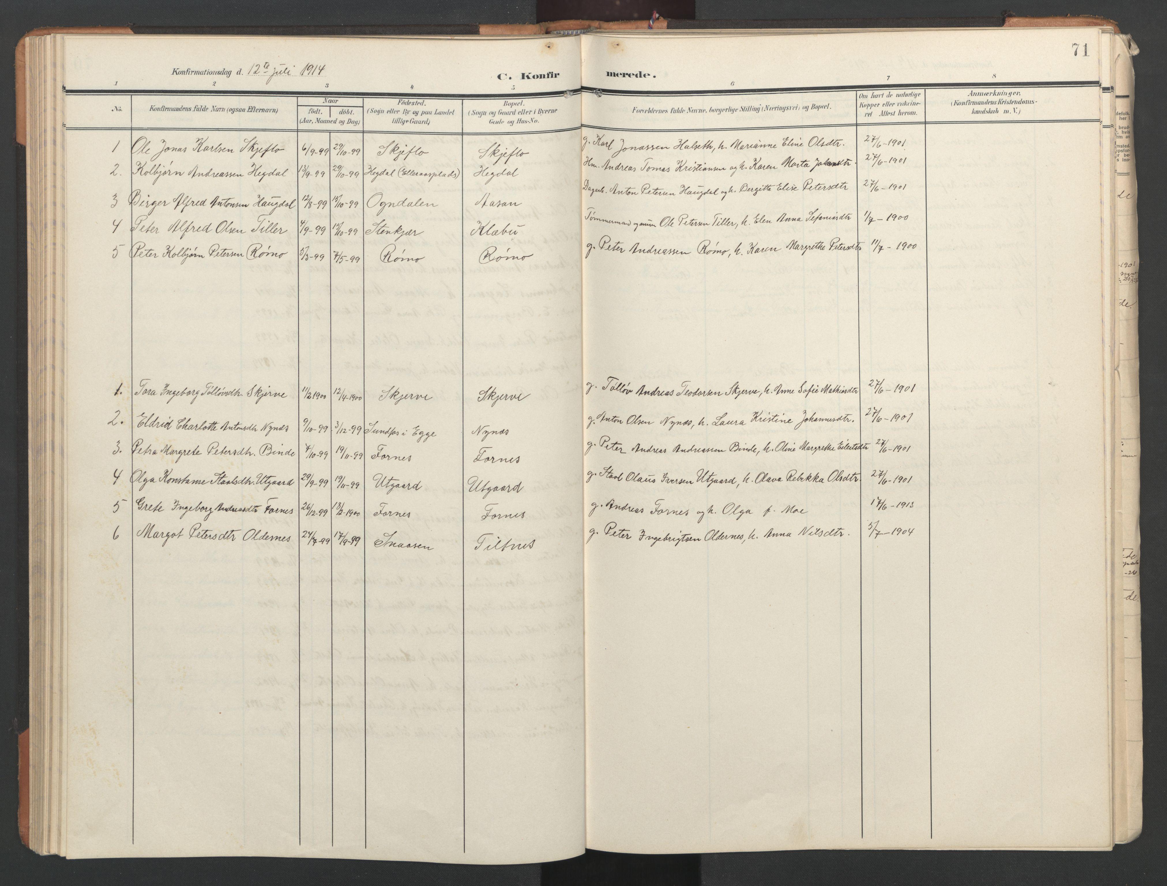 SAT, Ministerialprotokoller, klokkerbøker og fødselsregistre - Nord-Trøndelag, 746/L0455: Klokkerbok nr. 746C01, 1908-1933, s. 71