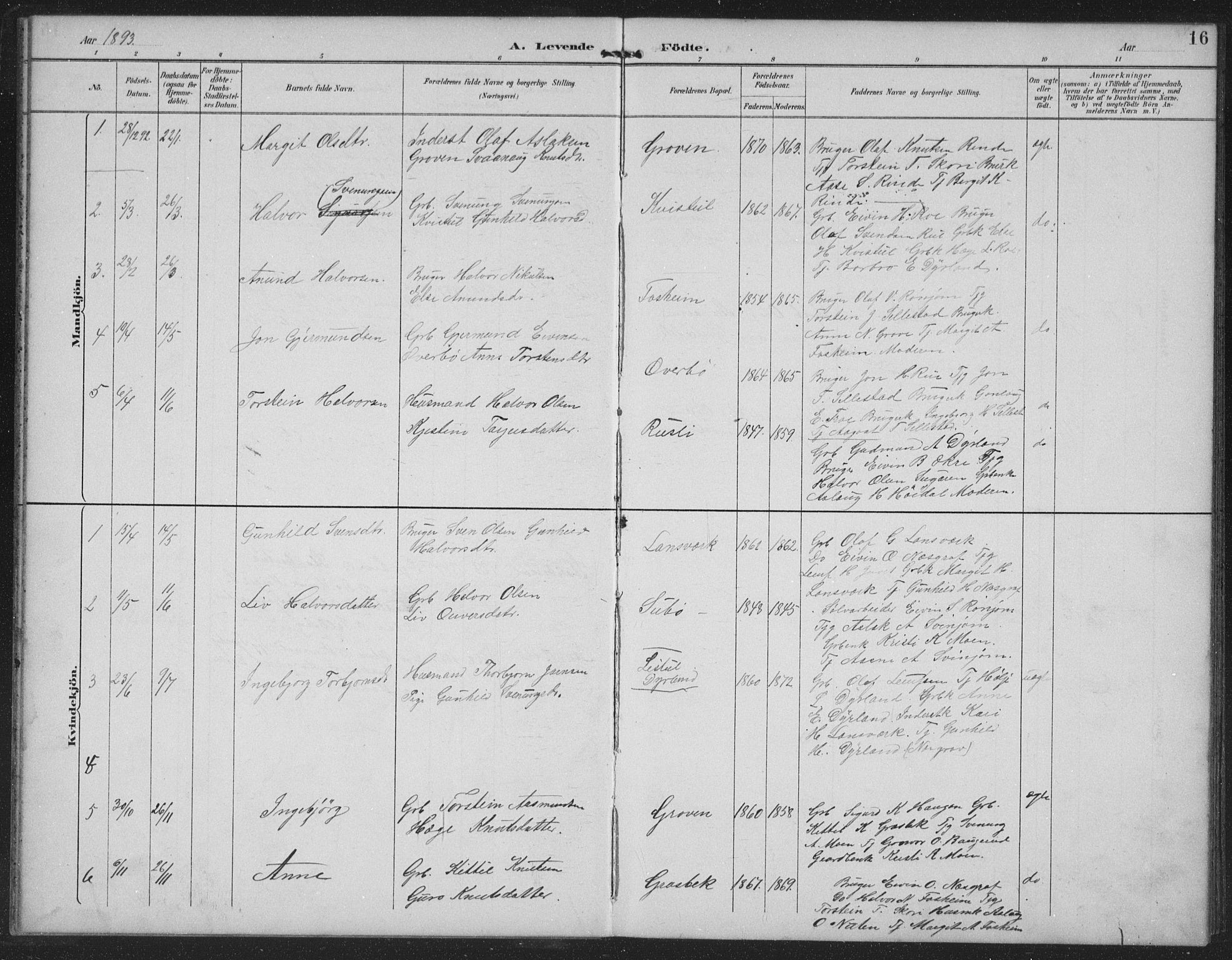 SAKO, Seljord kirkebøker, G/Gc/L0003: Klokkerbok nr. III 3, 1887-1926, s. 16