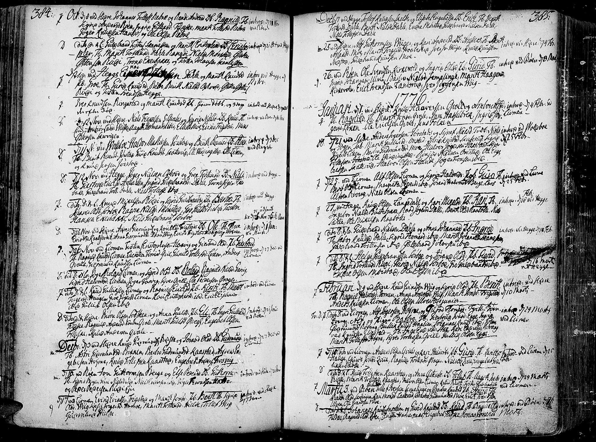 SAH, Slidre prestekontor, Ministerialbok nr. 1, 1724-1814, s. 384-385