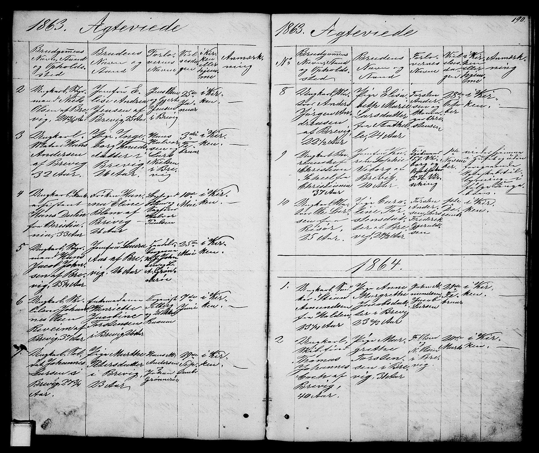SAKO, Brevik kirkebøker, G/Ga/L0002: Klokkerbok nr. 2, 1846-1865, s. 190