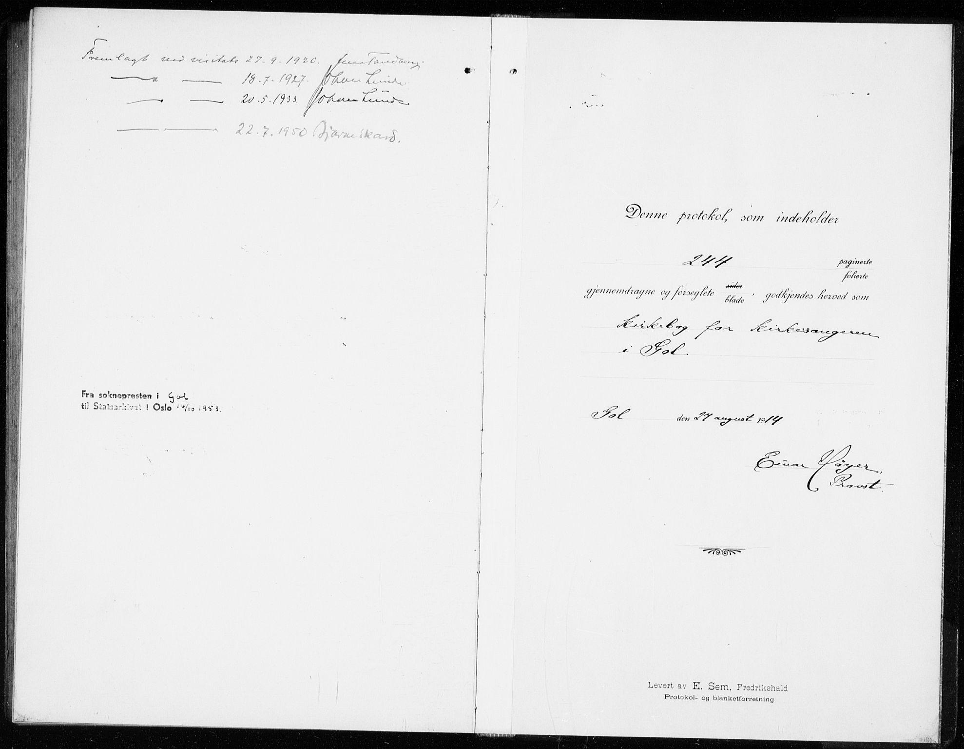 SAKO, Gol kirkebøker, G/Ga/L0004: Klokkerbok nr. I 4, 1915-1943