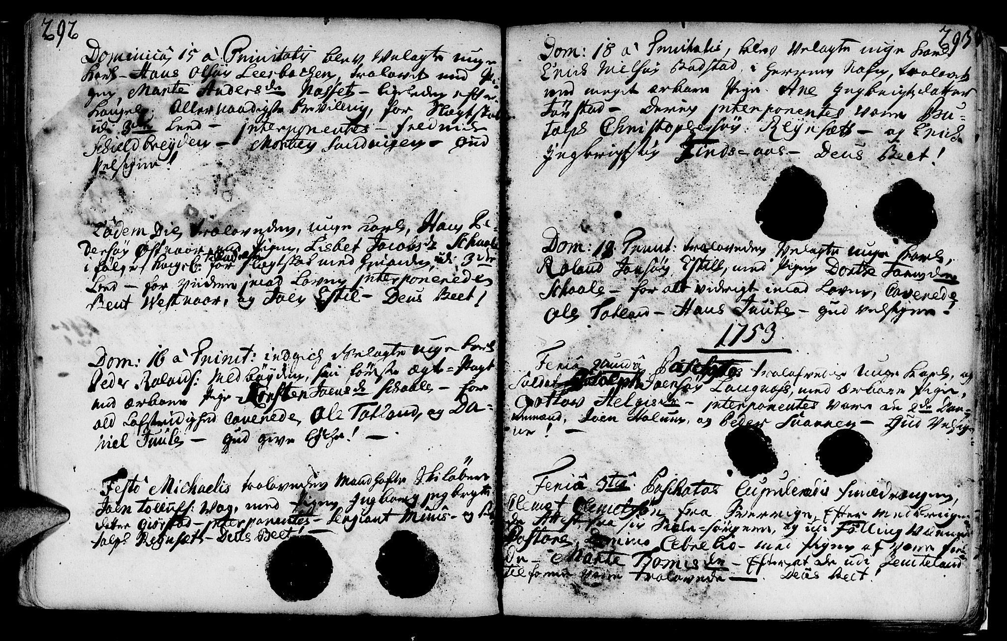 SAT, Ministerialprotokoller, klokkerbøker og fødselsregistre - Nord-Trøndelag, 749/L0467: Ministerialbok nr. 749A01, 1733-1787, s. 292-293