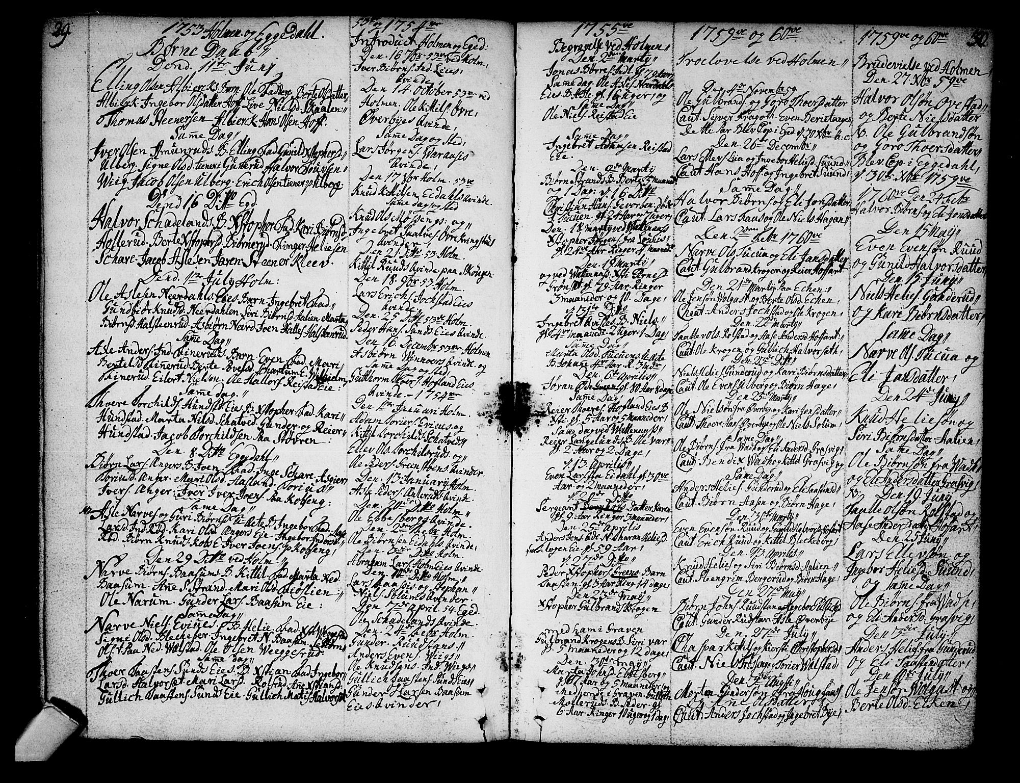SAKO, Sigdal kirkebøker, F/Fa/L0001: Ministerialbok nr. I 1, 1722-1777, s. 29-30