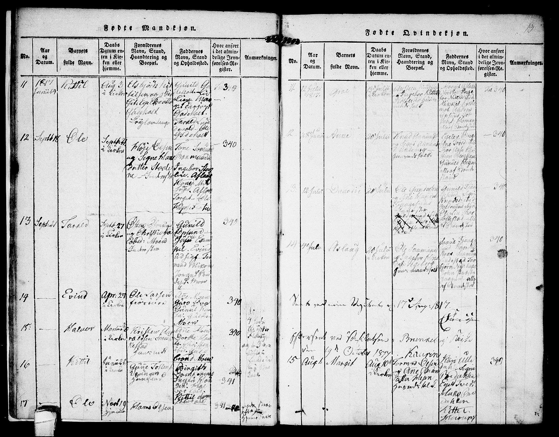 SAKO, Kviteseid kirkebøker, F/Fa/L0005: Ministerialbok nr. I 5, 1815-1836, s. 13