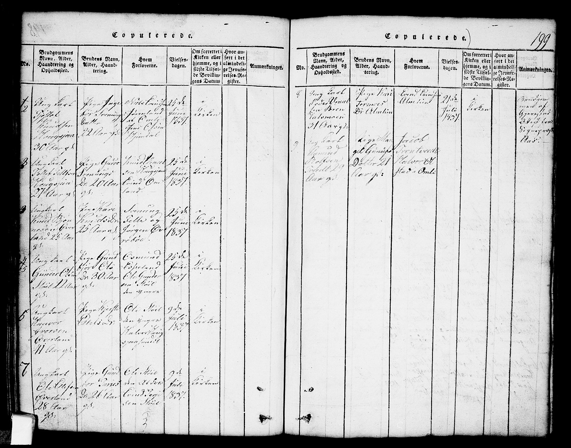 SAKO, Nissedal kirkebøker, G/Gb/L0001: Klokkerbok nr. II 1, 1814-1862, s. 199