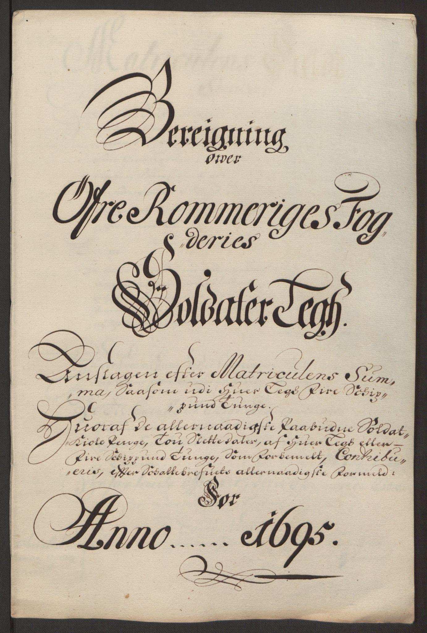 RA, Rentekammeret inntil 1814, Reviderte regnskaper, Fogderegnskap, R12/L0707: Fogderegnskap Øvre Romerike, 1695, s. 226