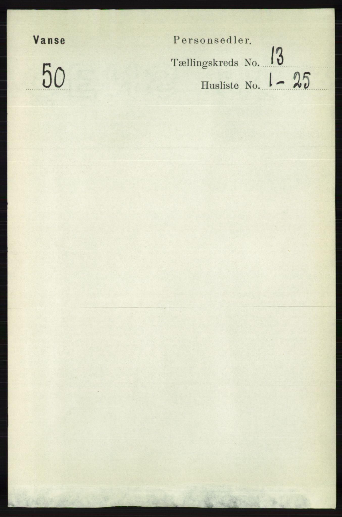 RA, Folketelling 1891 for 1041 Vanse herred, 1891, s. 7514