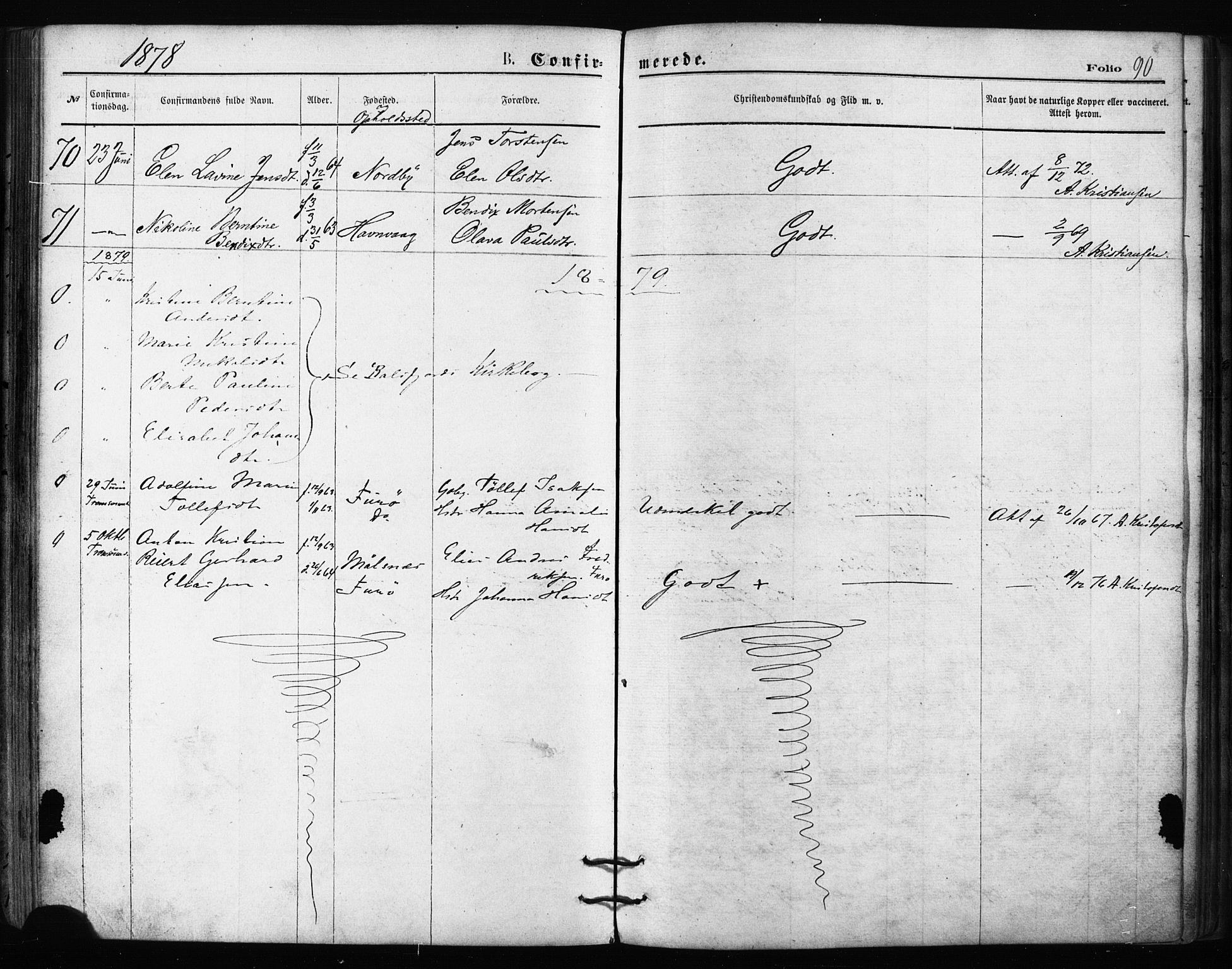 SATØ, Balsfjord sokneprestembete, Ministerialbok nr. 2, 1871-1886, s. 90