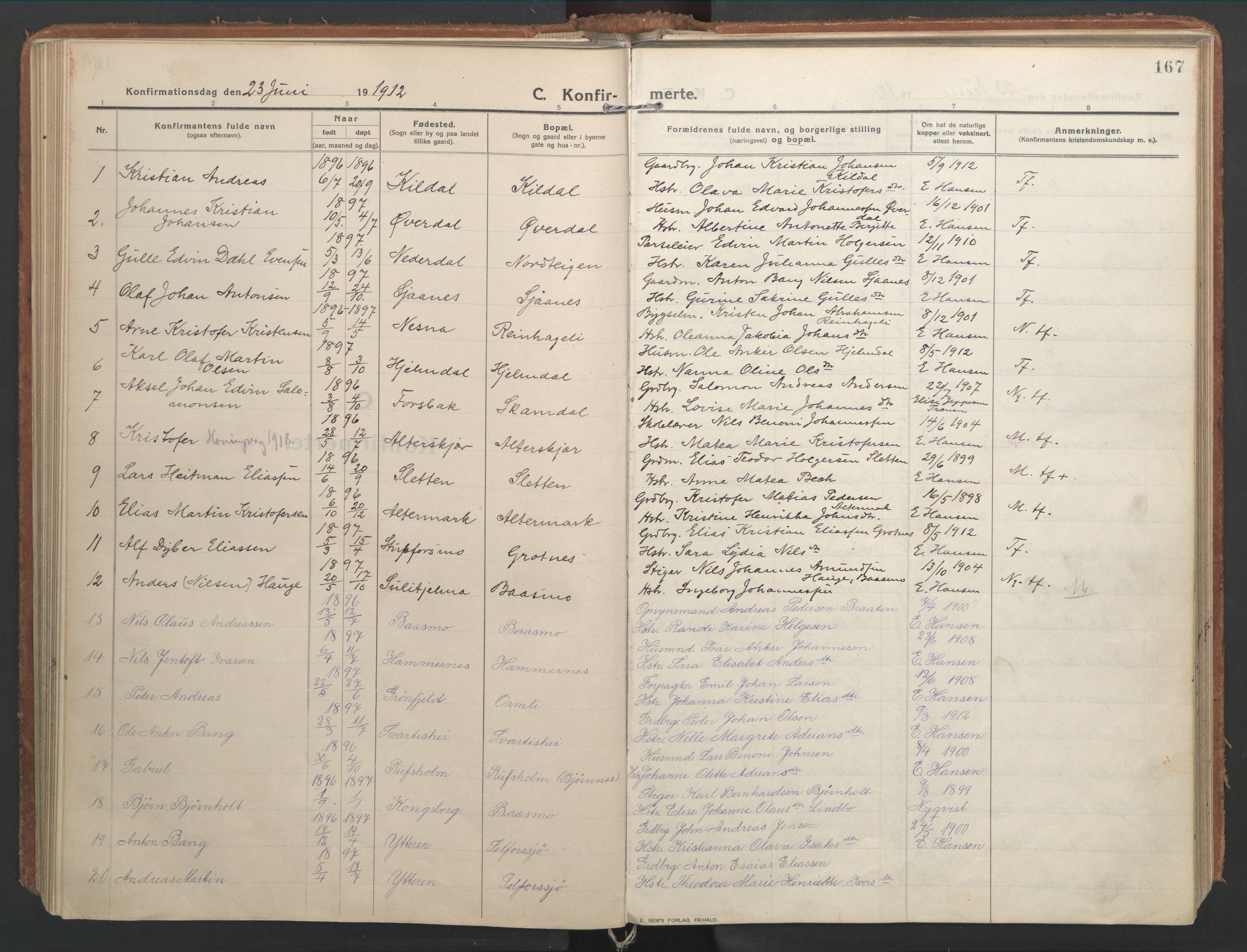 SAT, Ministerialprotokoller, klokkerbøker og fødselsregistre - Nordland, 827/L0404: Ministerialbok nr. 827A16, 1912-1925, s. 167