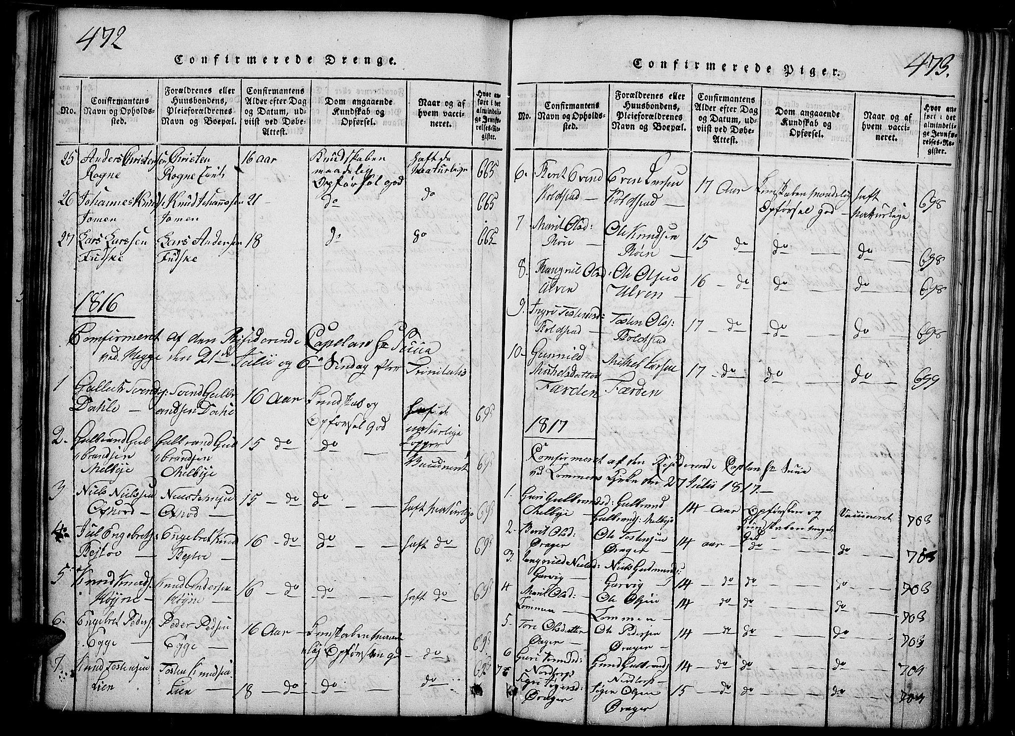 SAH, Slidre prestekontor, Ministerialbok nr. 2, 1814-1830, s. 472-473