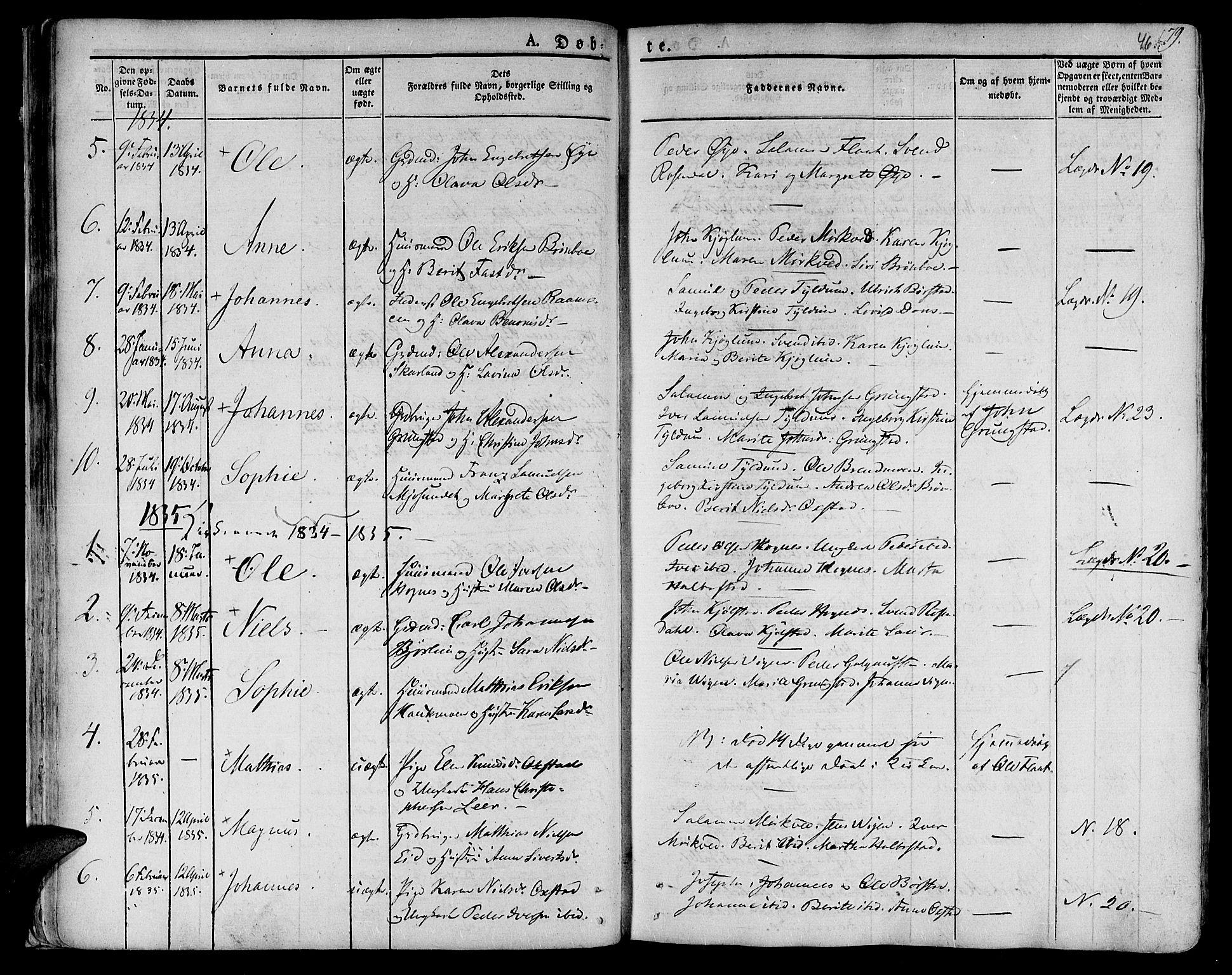 SAT, Ministerialprotokoller, klokkerbøker og fødselsregistre - Nord-Trøndelag, 758/L0510: Ministerialbok nr. 758A01 /2, 1821-1841, s. 46