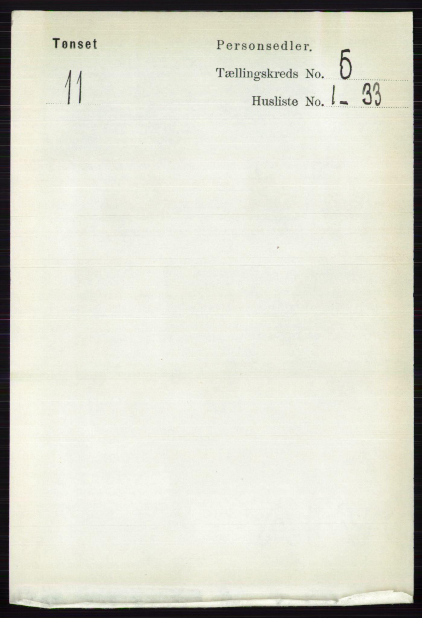 RA, Folketelling 1891 for 0437 Tynset herred, 1891, s. 1077