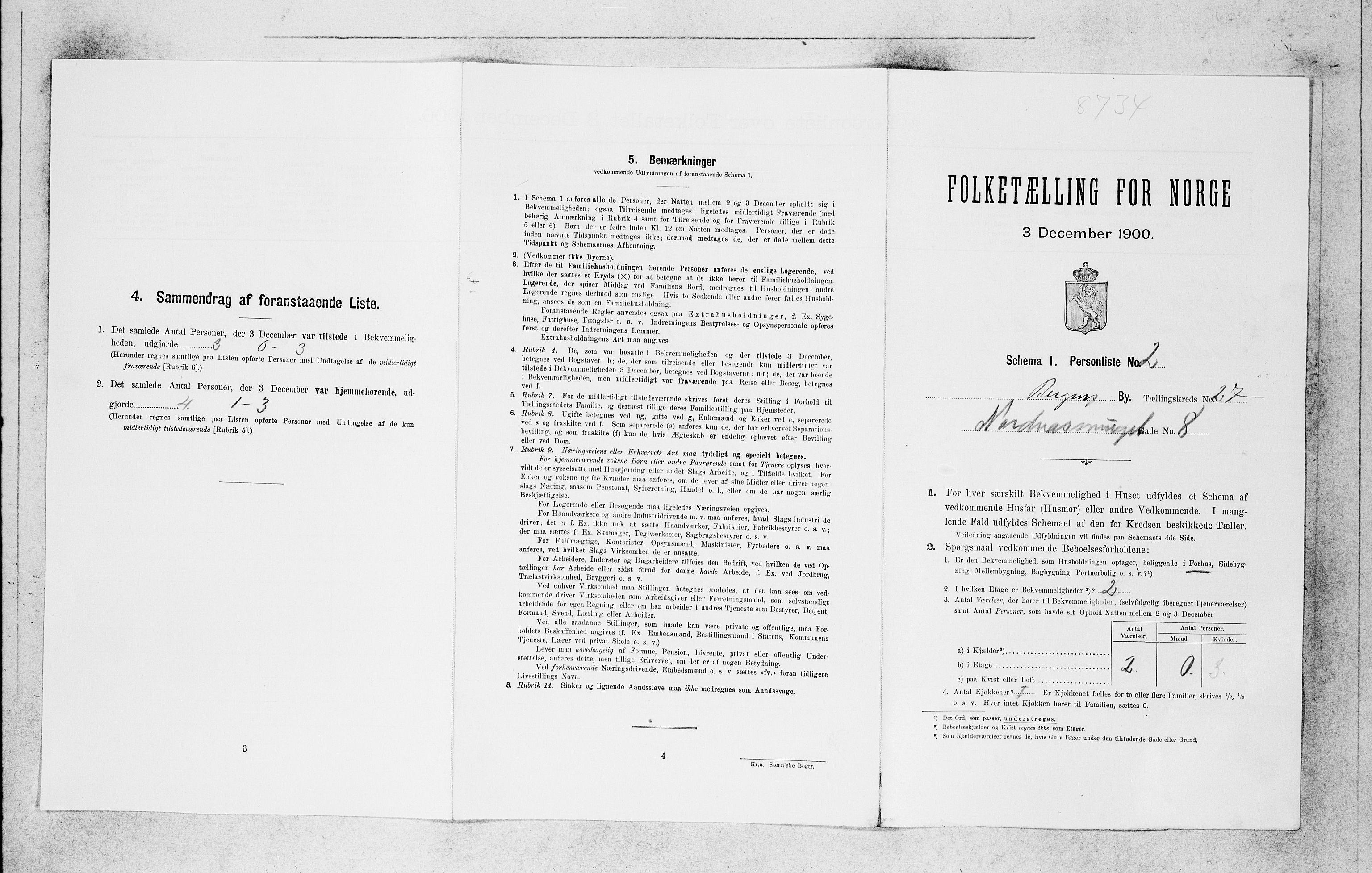 SAB, Folketelling 1900 for 1301 Bergen kjøpstad, 1900, s. 5666