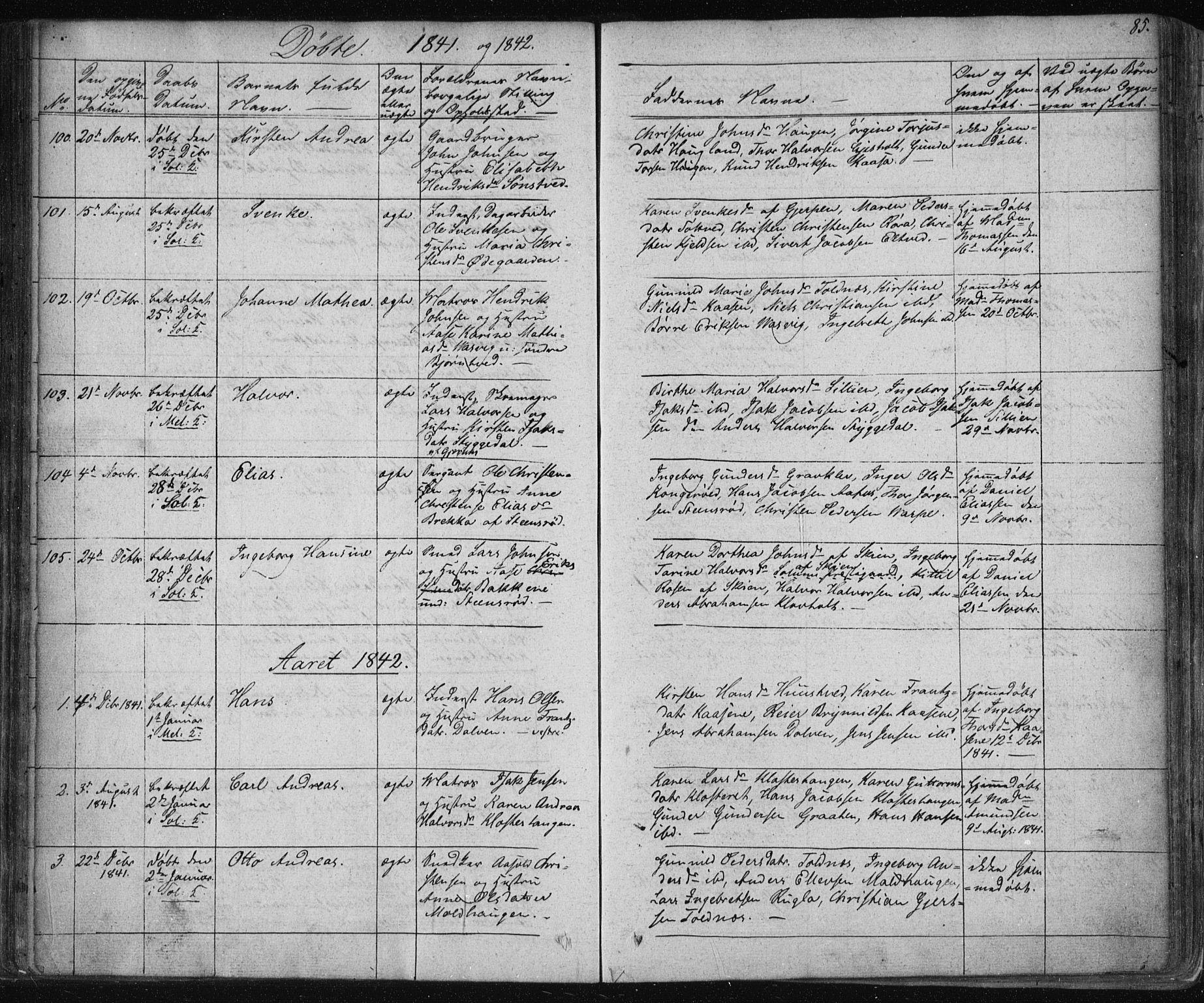 SAKO, Solum kirkebøker, F/Fa/L0005: Ministerialbok nr. I 5, 1833-1843, s. 85