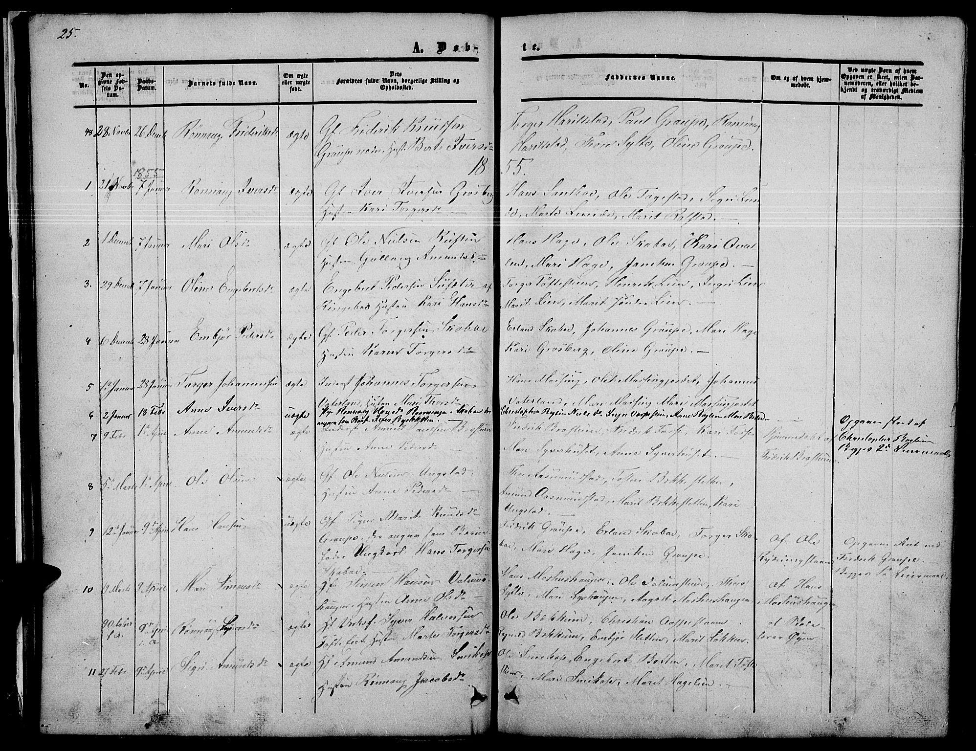 SAH, Nord-Fron prestekontor, Klokkerbok nr. 2, 1851-1883, s. 25