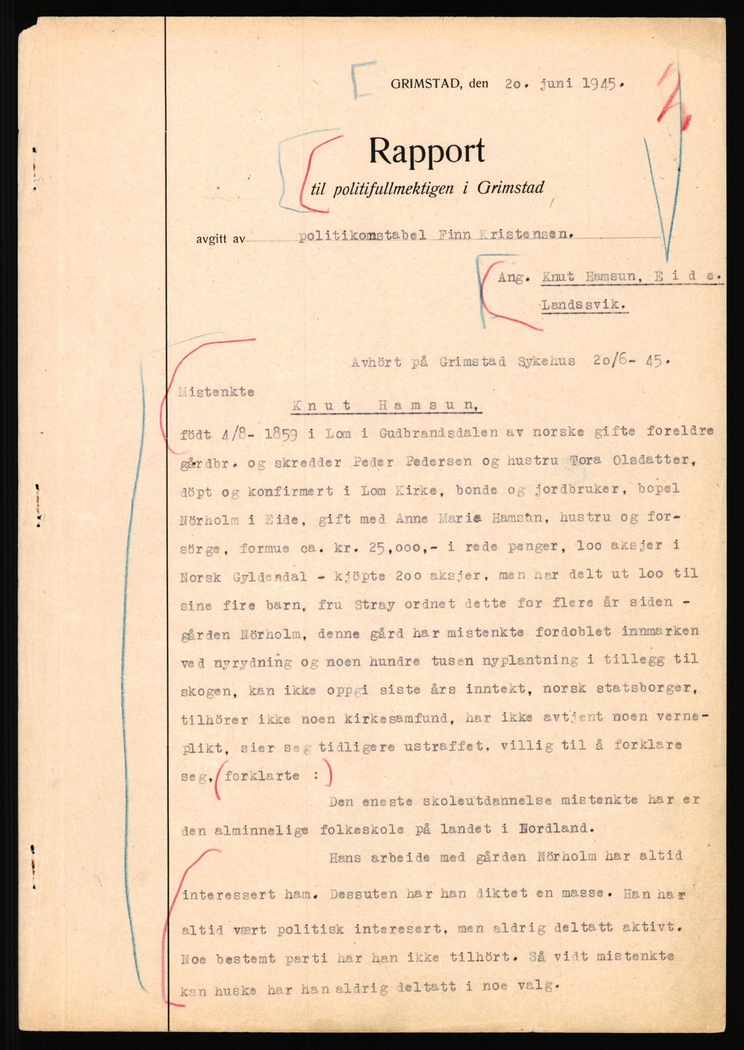 RA, Landssvikarkivet, Arendal politikammer, D/Dc/L0029: Anr. 192/45, 1945-1951, s. 27