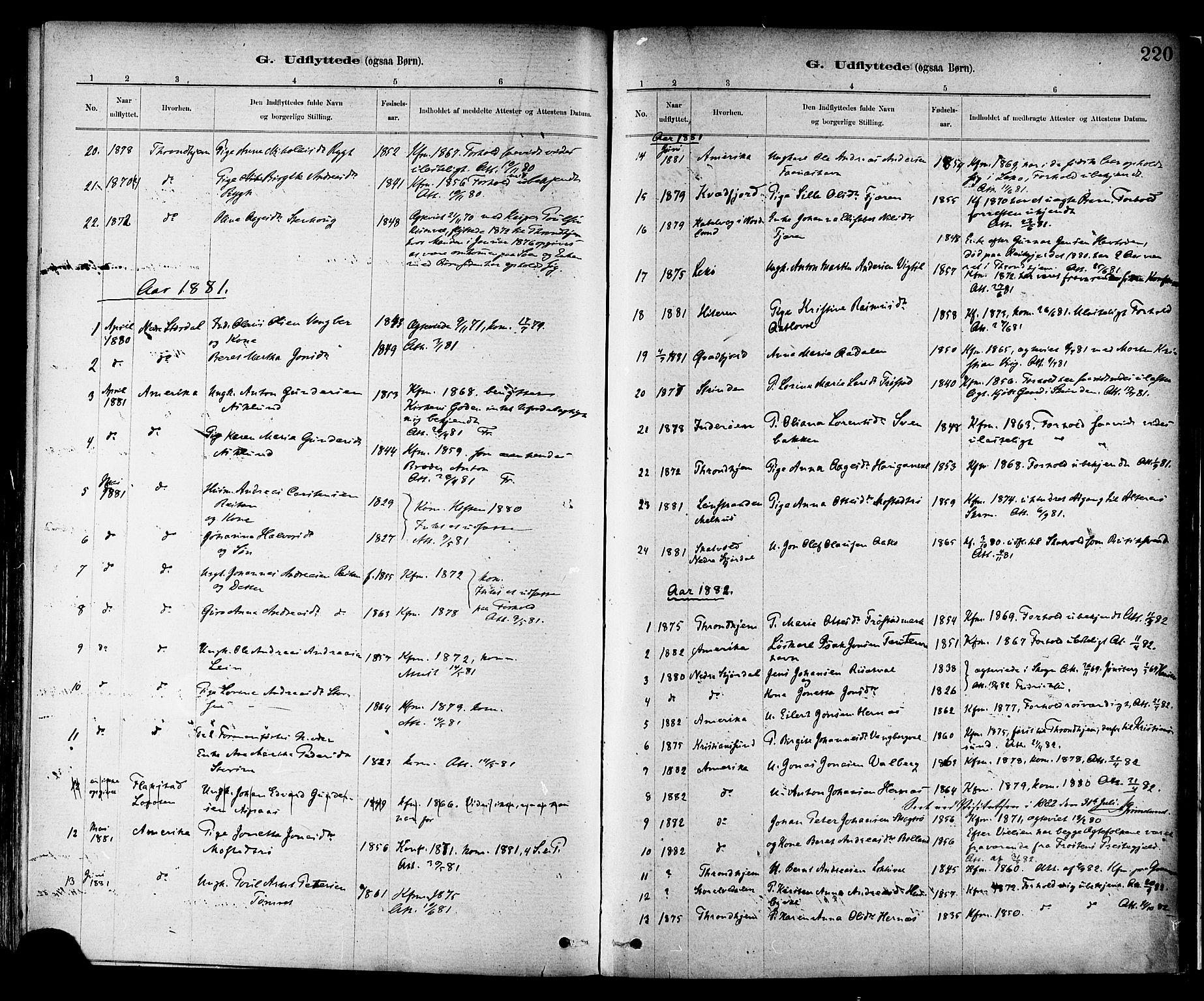 SAT, Ministerialprotokoller, klokkerbøker og fødselsregistre - Nord-Trøndelag, 713/L0120: Ministerialbok nr. 713A09, 1878-1887, s. 220