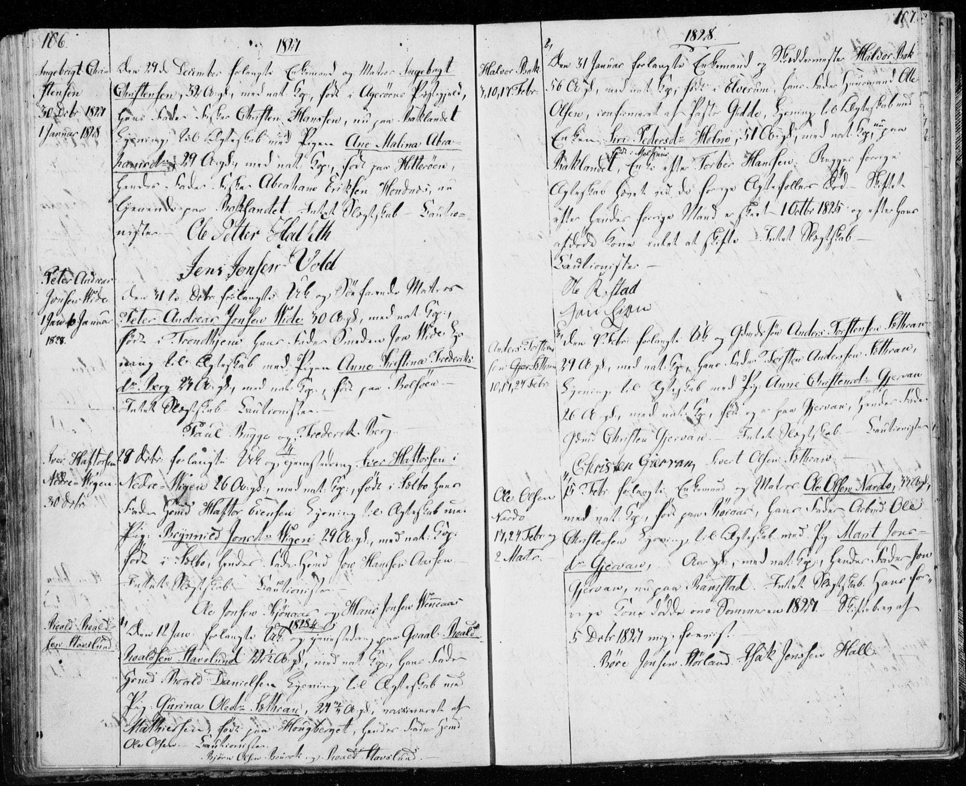SAT, Ministerialprotokoller, klokkerbøker og fødselsregistre - Sør-Trøndelag, 606/L0295: Lysningsprotokoll nr. 606A10, 1815-1833, s. 106-107