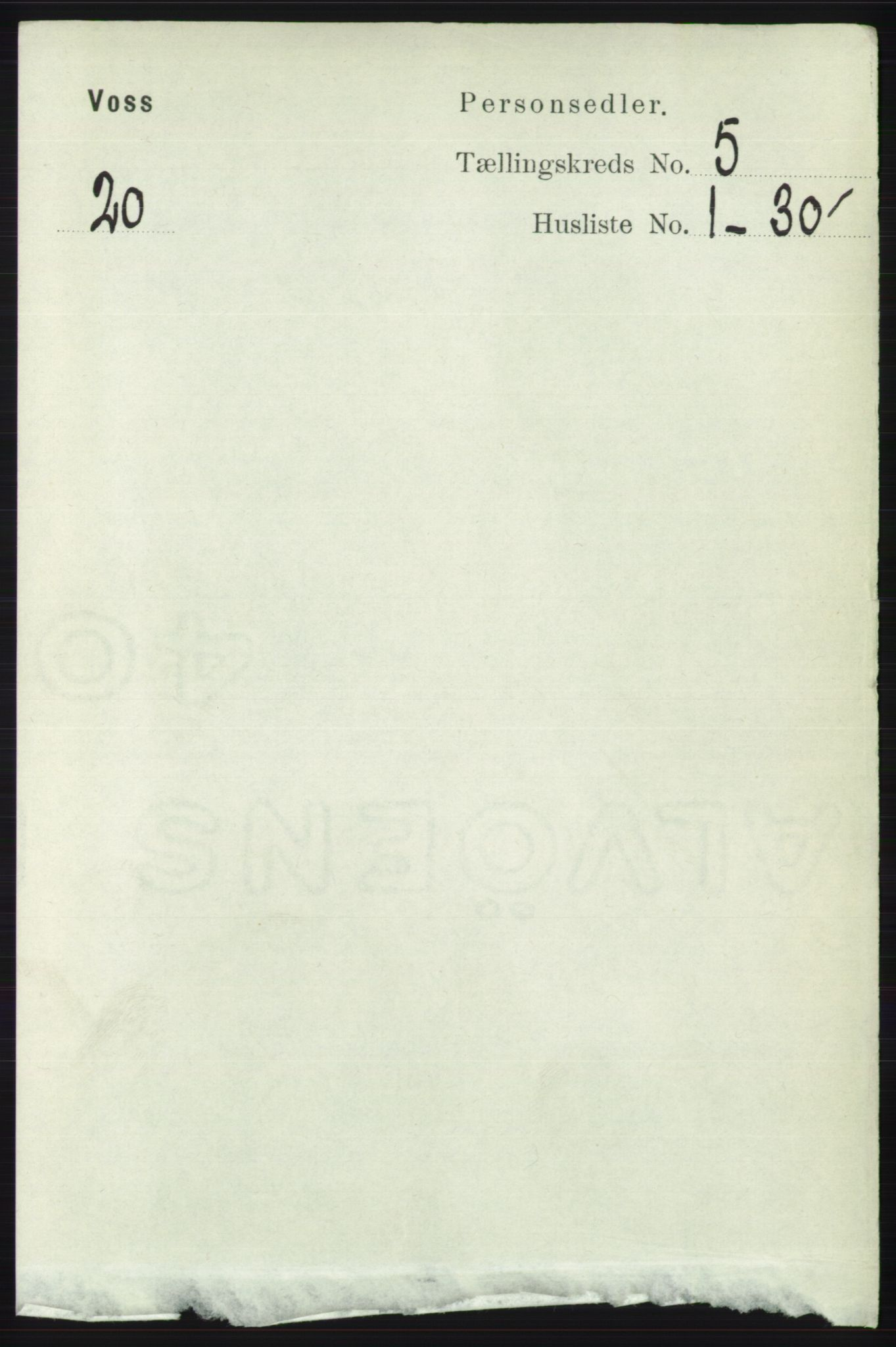 RA, Folketelling 1891 for 1235 Voss herred, 1891, s. 2701