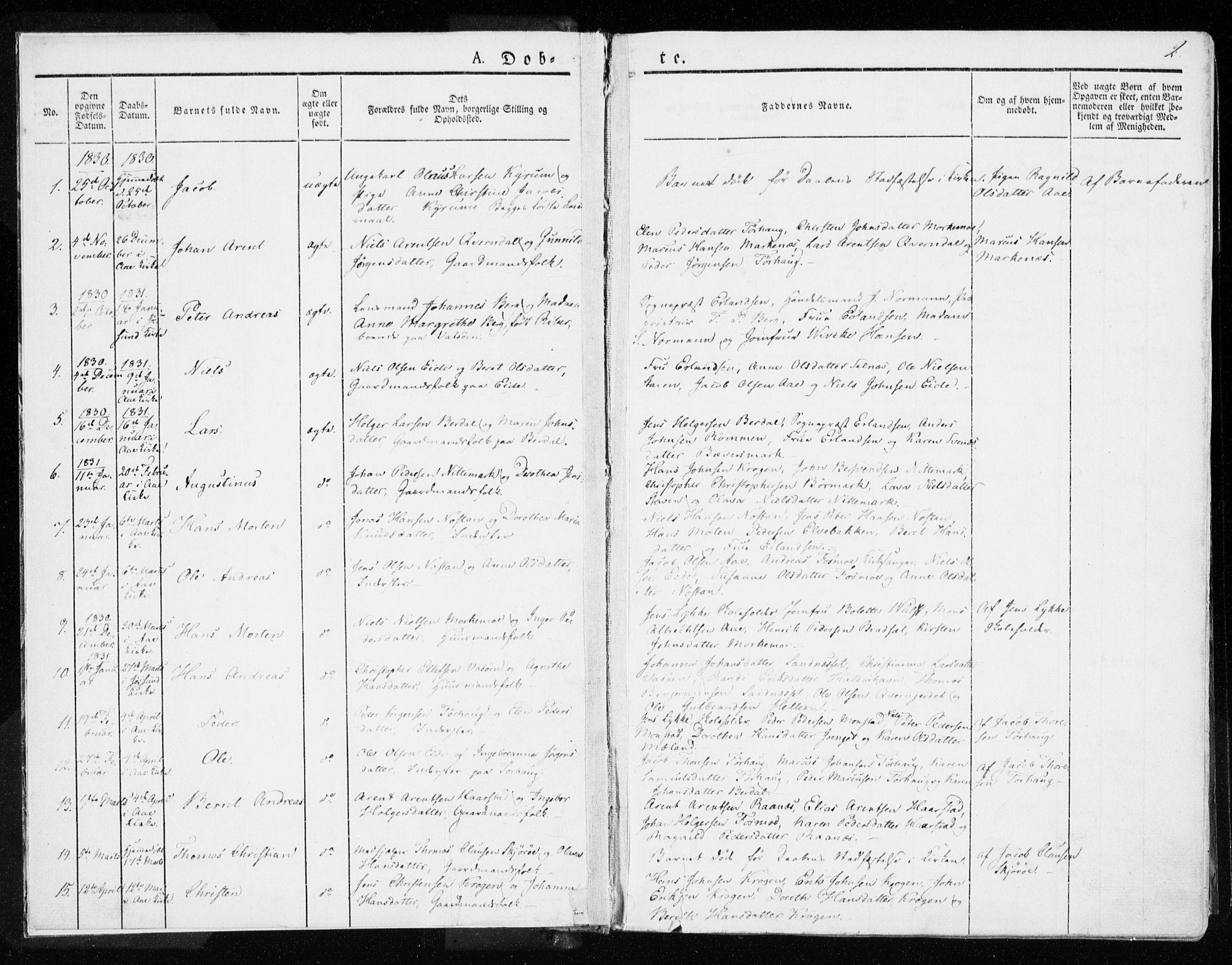 SAT, Ministerialprotokoller, klokkerbøker og fødselsregistre - Sør-Trøndelag, 655/L0676: Ministerialbok nr. 655A05, 1830-1847, s. 2