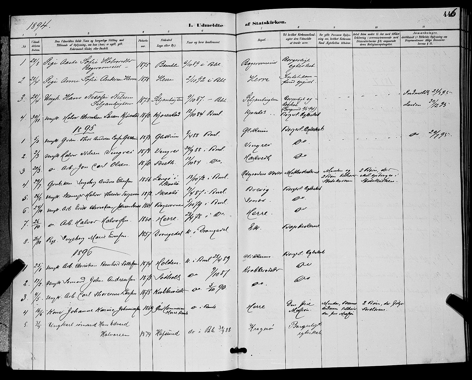 SAKO, Bamble kirkebøker, G/Ga/L0009: Klokkerbok nr. I 9, 1888-1900, s. 446