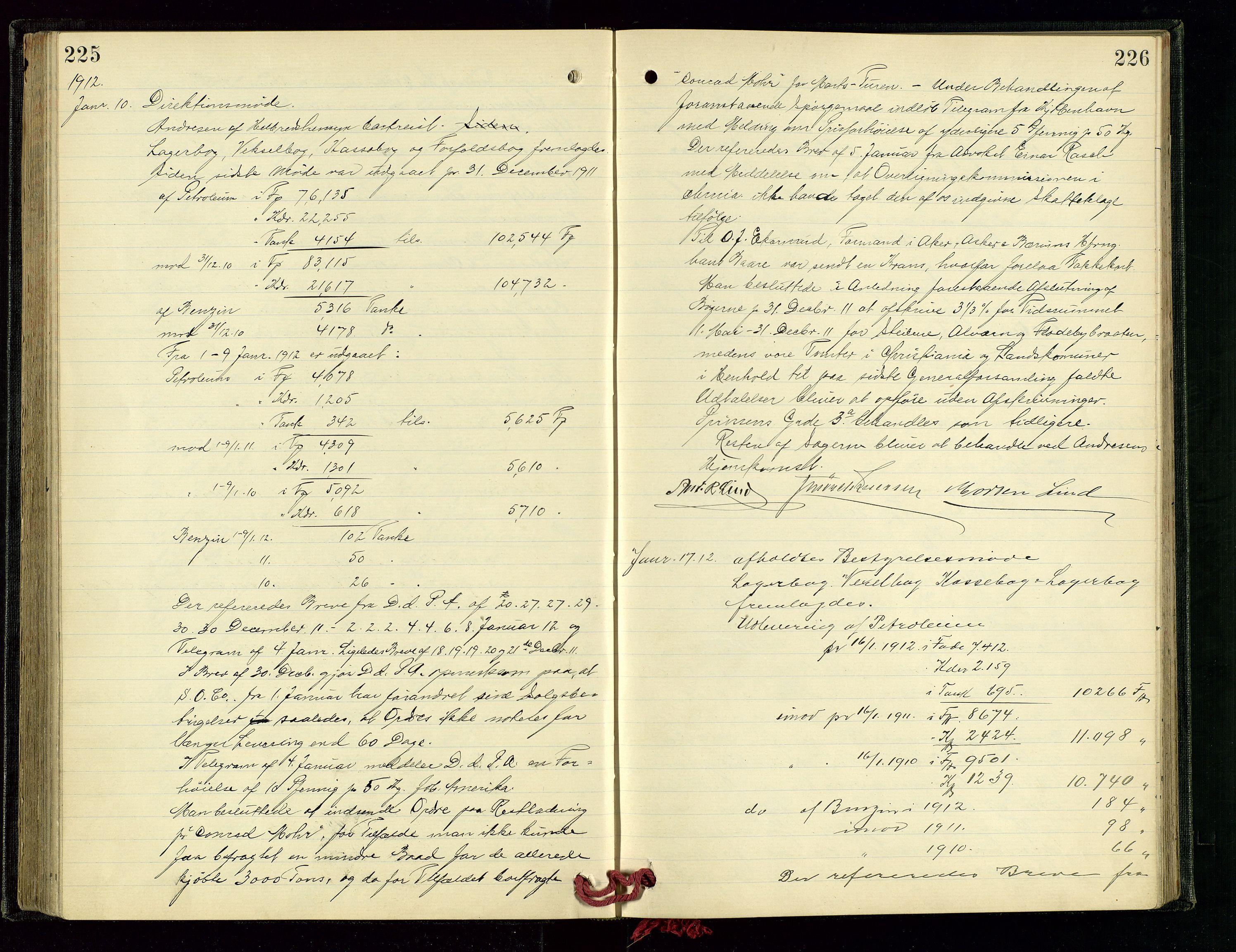 SAST, PA 1534 - Østlandske Petroleumscompagni A/S, A/Aa/L0003: Direksjonsprotokoller, 1905-1915, s. 225-226