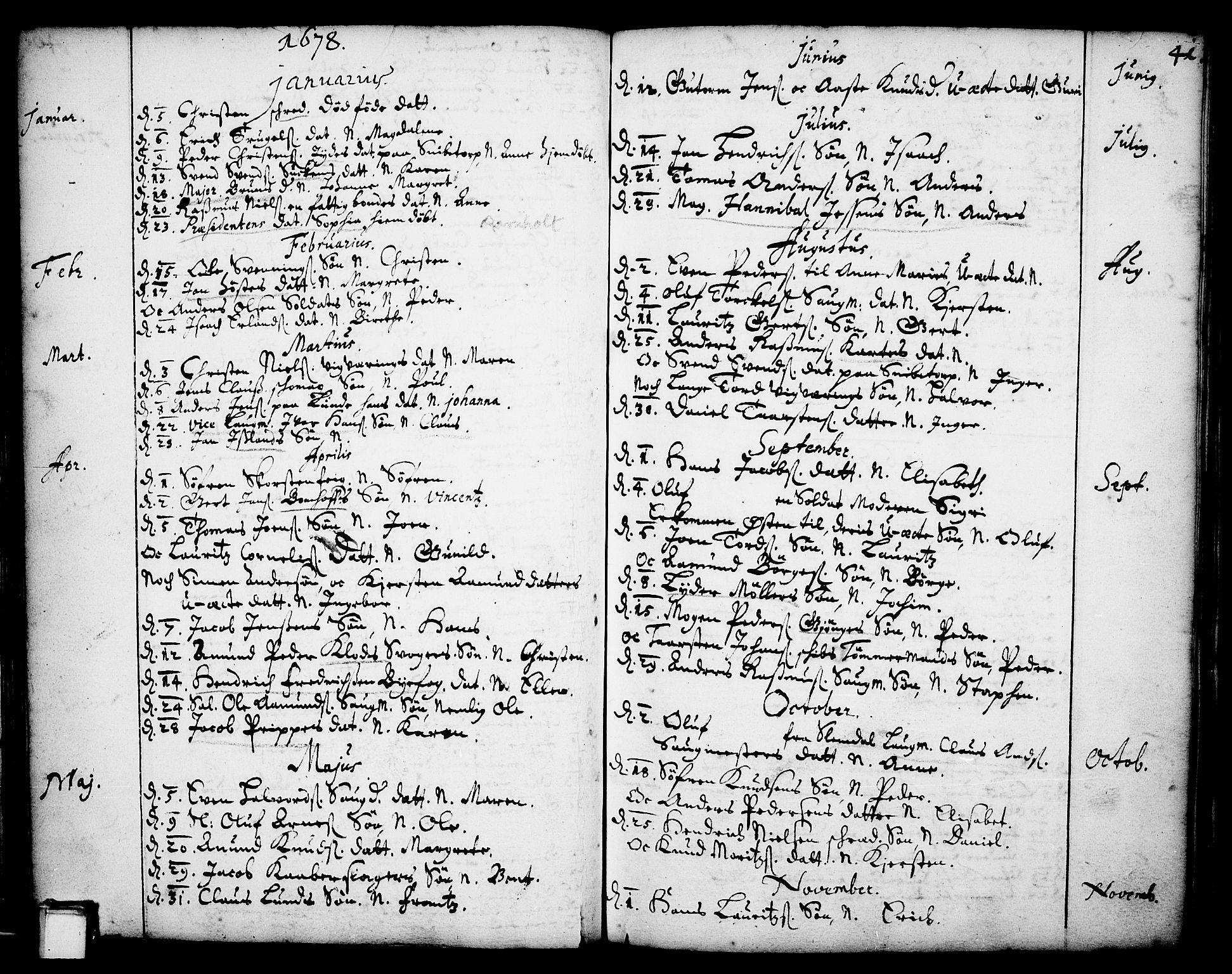 SAKO, Skien kirkebøker, F/Fa/L0001: Ministerialbok nr. 1, 1659-1679, s. 41