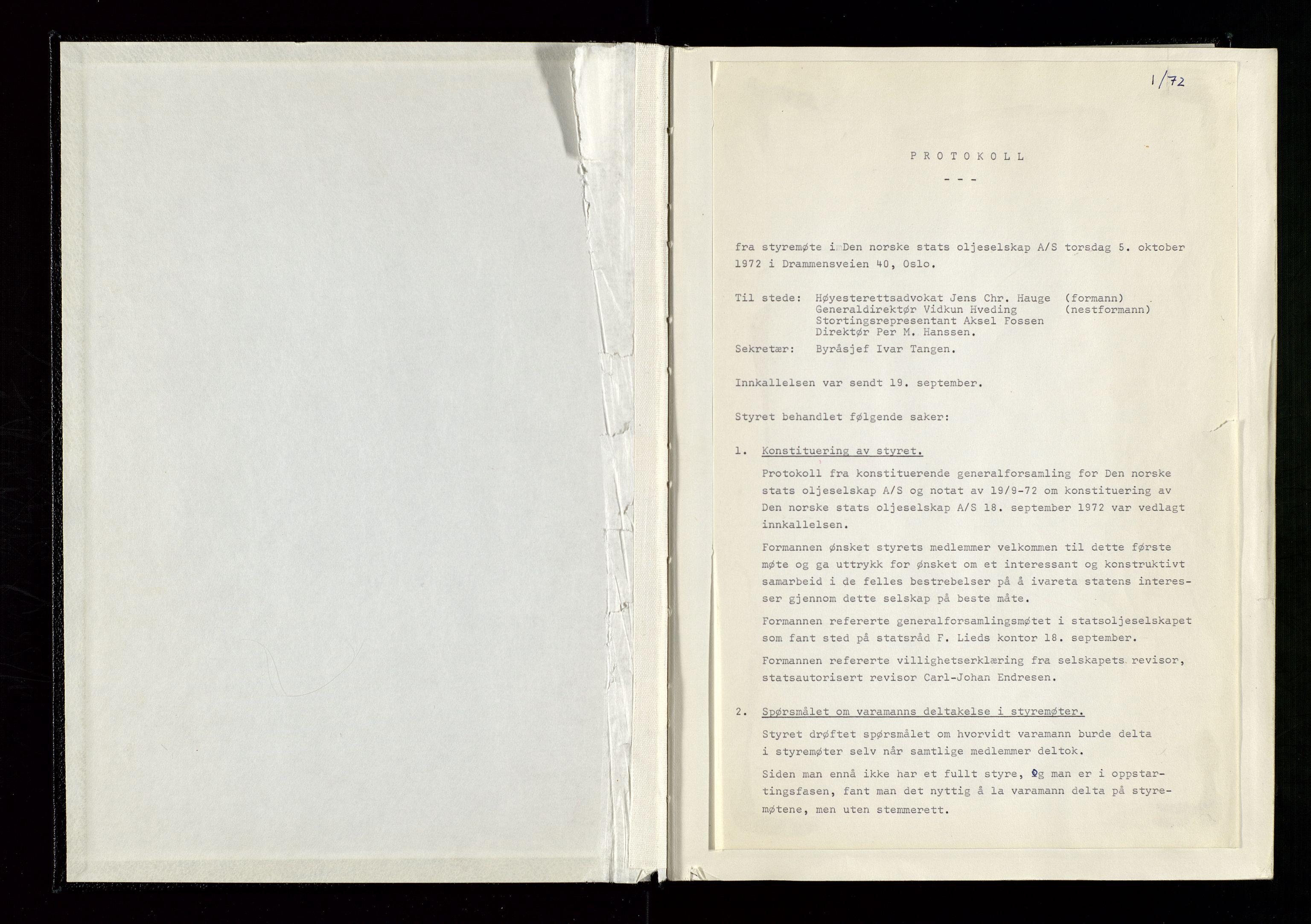 SAST, Pa 1339 - Statoil ASA, A/Ab/Aba/L0001: Styremøteprotokoller, 05.10.1972 til 14.12.1978, 1972-1978, s. 8