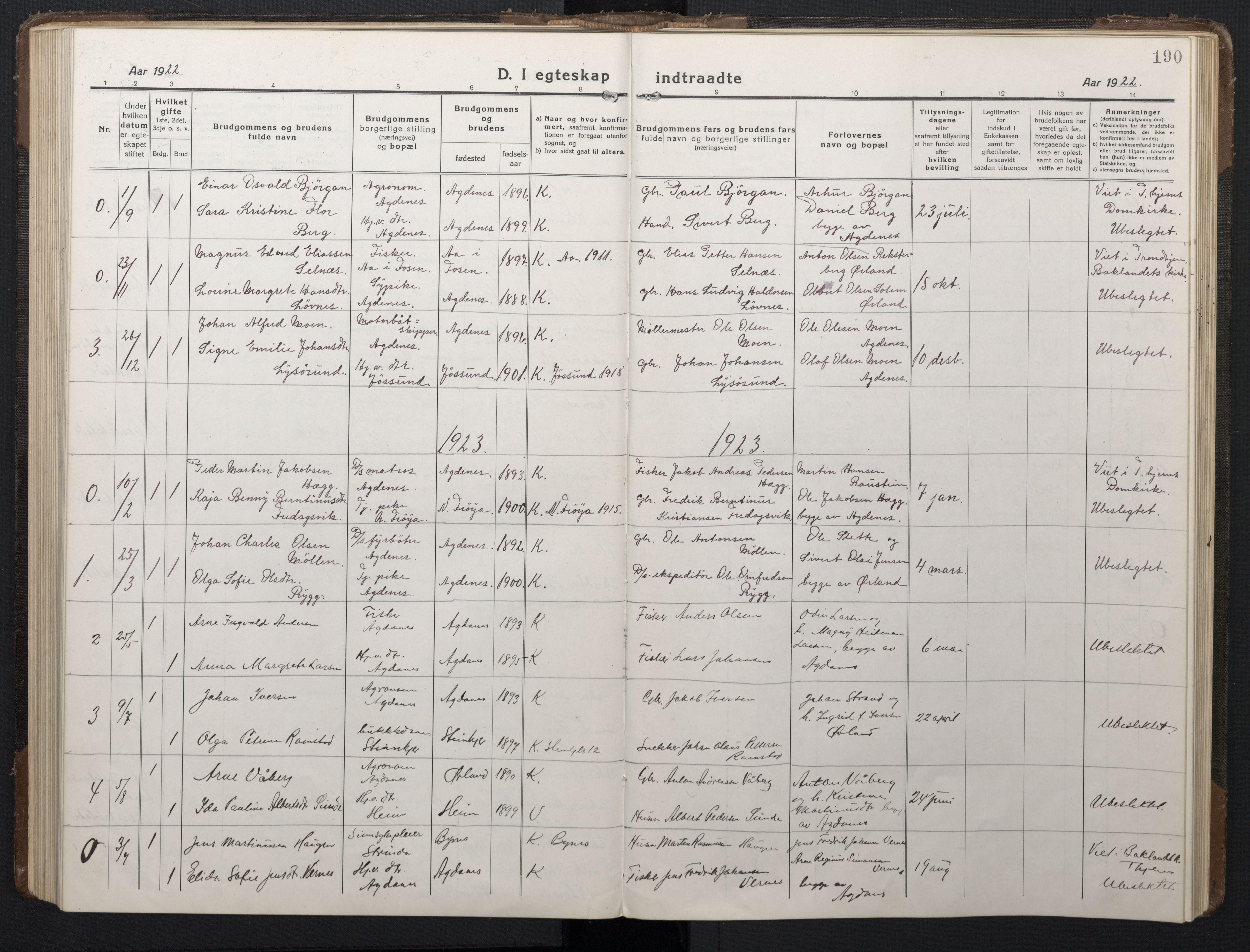 SAT, Ministerialprotokoller, klokkerbøker og fødselsregistre - Sør-Trøndelag, 662/L0758: Klokkerbok nr. 662C03, 1918-1948, s. 190