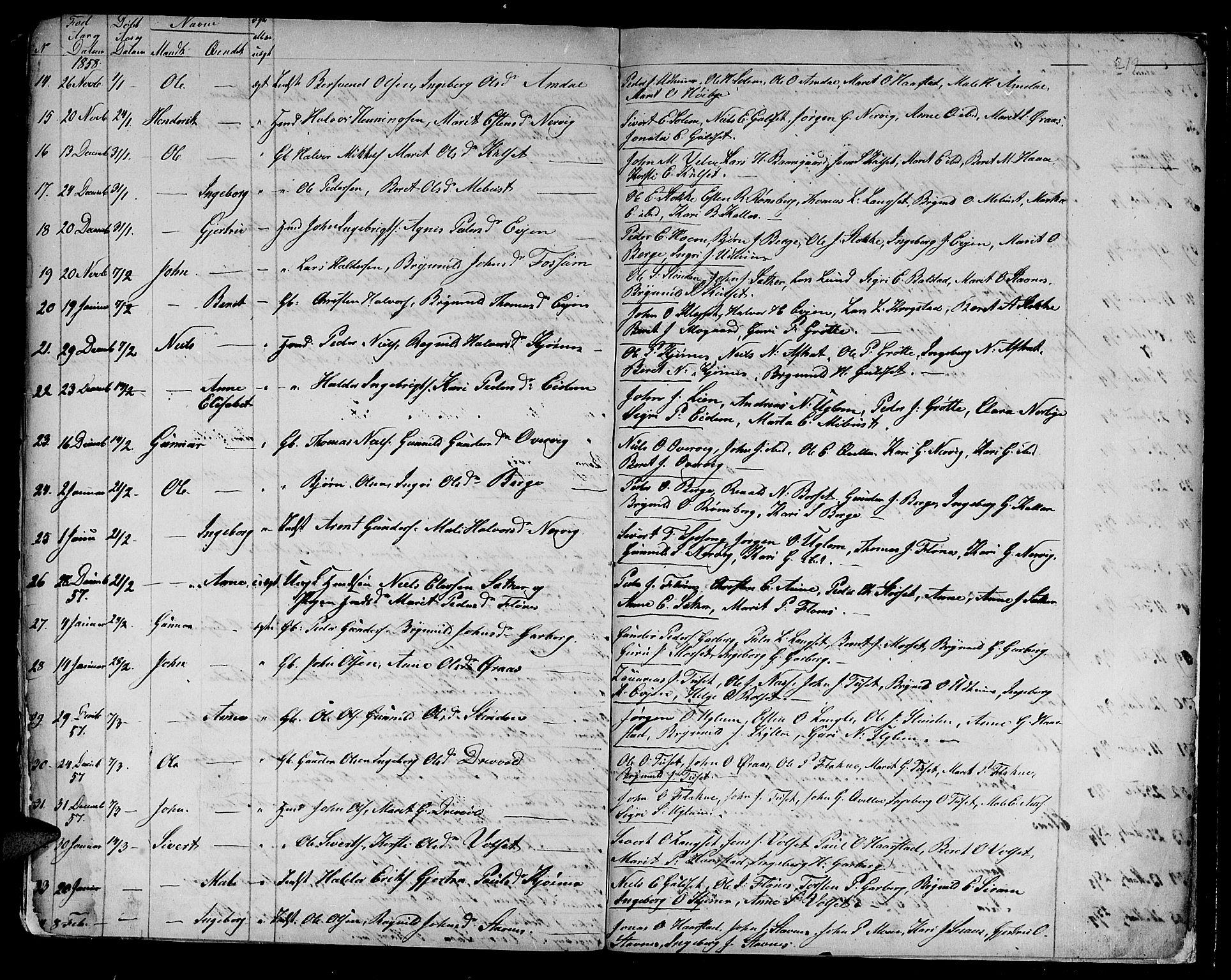 SAT, Ministerialprotokoller, klokkerbøker og fødselsregistre - Sør-Trøndelag, 695/L1154: Klokkerbok nr. 695C05, 1842-1858, s. 219