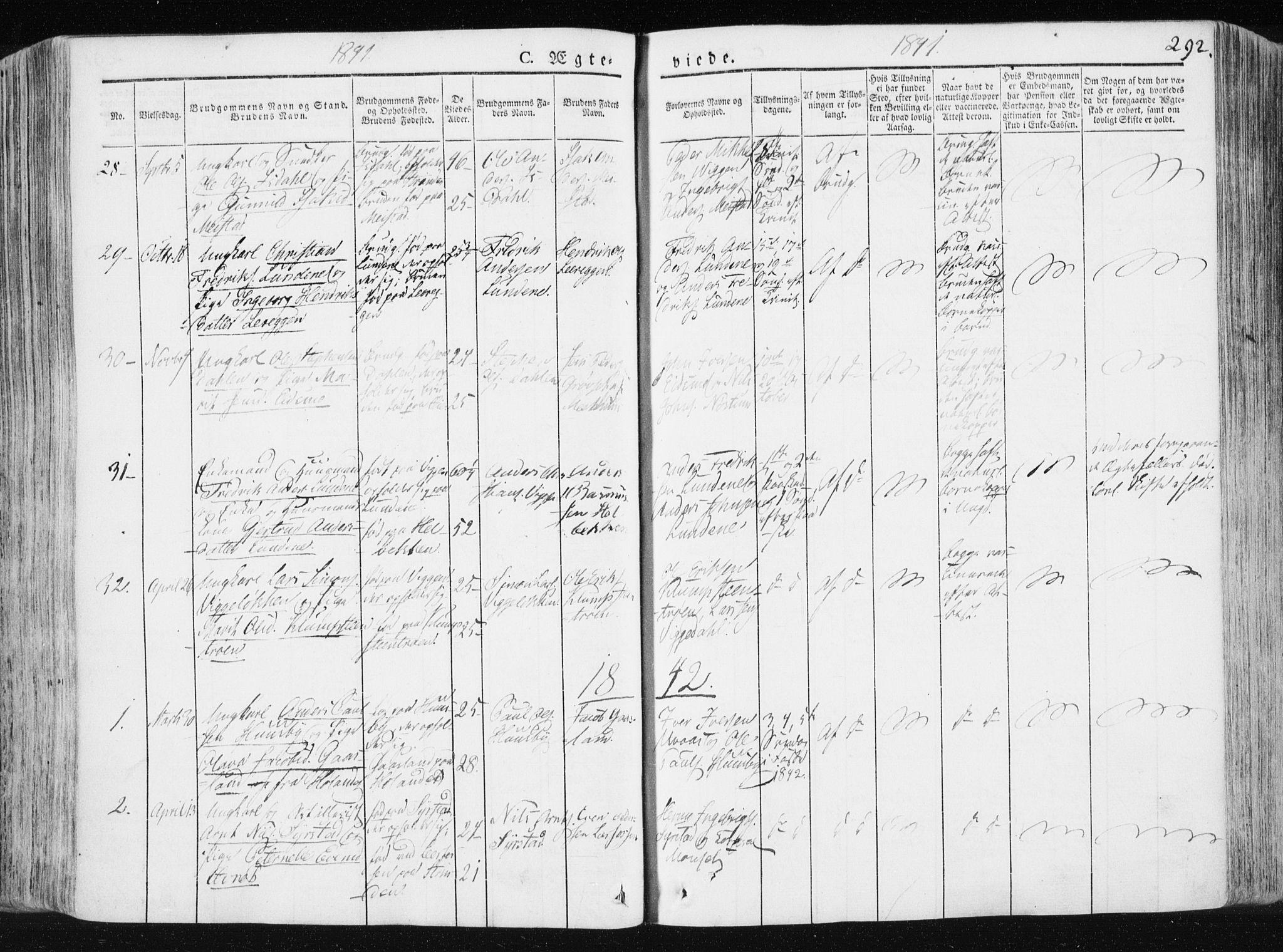 SAT, Ministerialprotokoller, klokkerbøker og fødselsregistre - Sør-Trøndelag, 665/L0771: Ministerialbok nr. 665A06, 1830-1856, s. 292