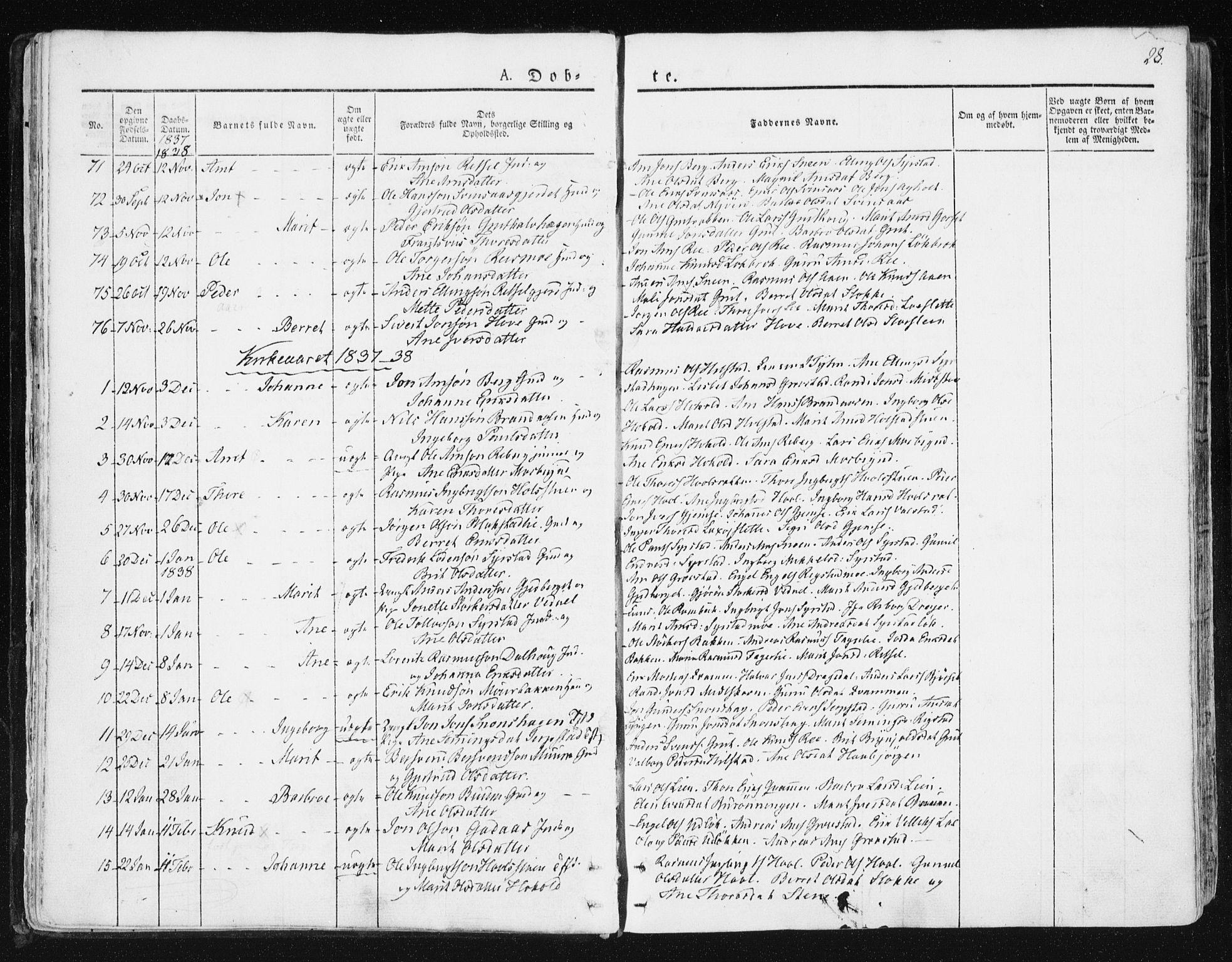 SAT, Ministerialprotokoller, klokkerbøker og fødselsregistre - Sør-Trøndelag, 672/L0855: Ministerialbok nr. 672A07, 1829-1860, s. 28