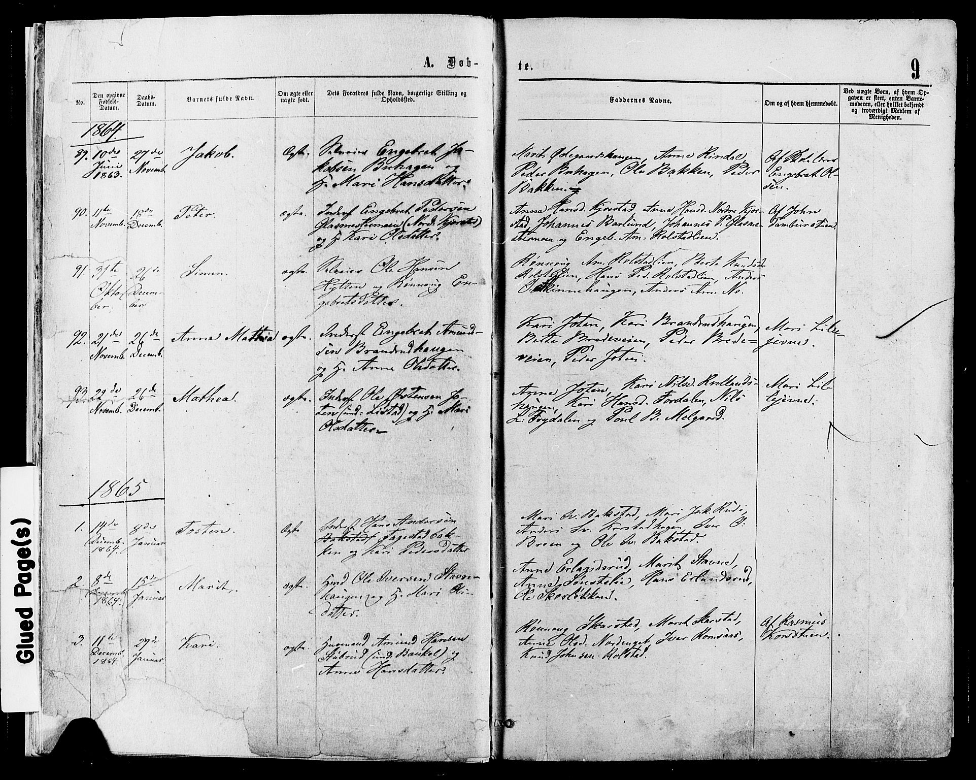 SAH, Sør-Fron prestekontor, H/Ha/Haa/L0002: Ministerialbok nr. 2, 1864-1880, s. 9