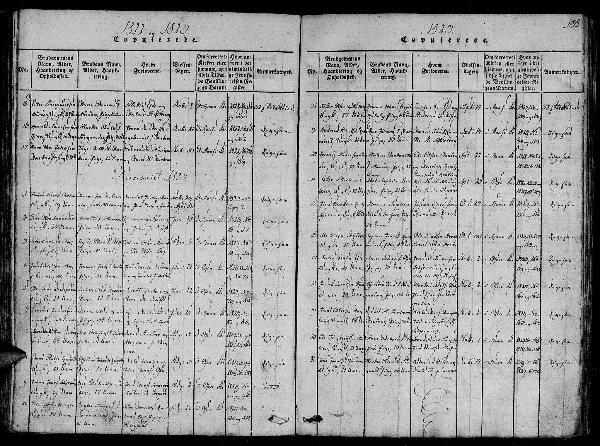 SAT, Ministerialprotokoller, klokkerbøker og fødselsregistre - Sør-Trøndelag, 657/L0702: Ministerialbok nr. 657A03, 1818-1831, s. 188