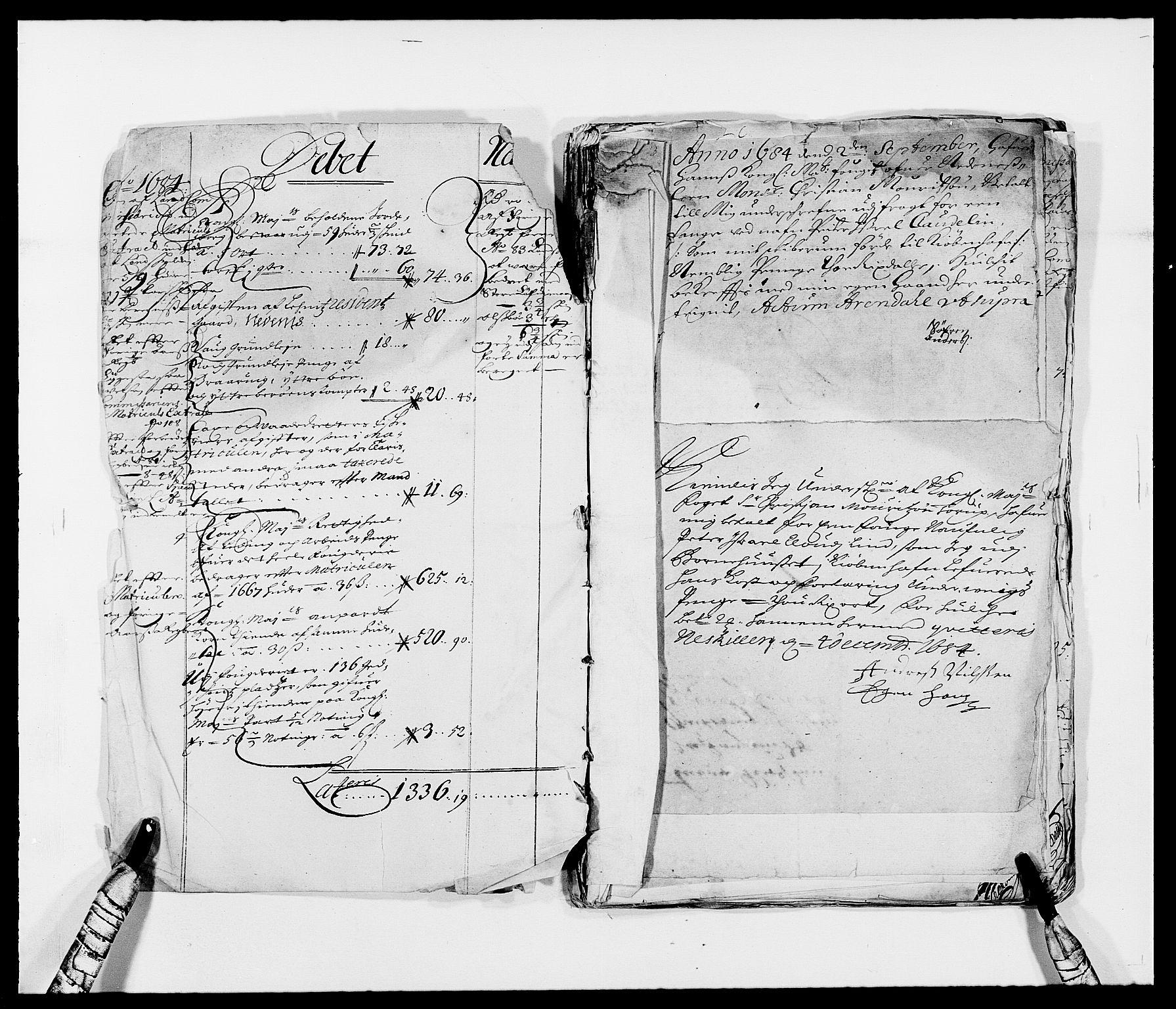 RA, Rentekammeret inntil 1814, Reviderte regnskaper, Fogderegnskap, R39/L2307: Fogderegnskap Nedenes, 1684-1689, s. 3
