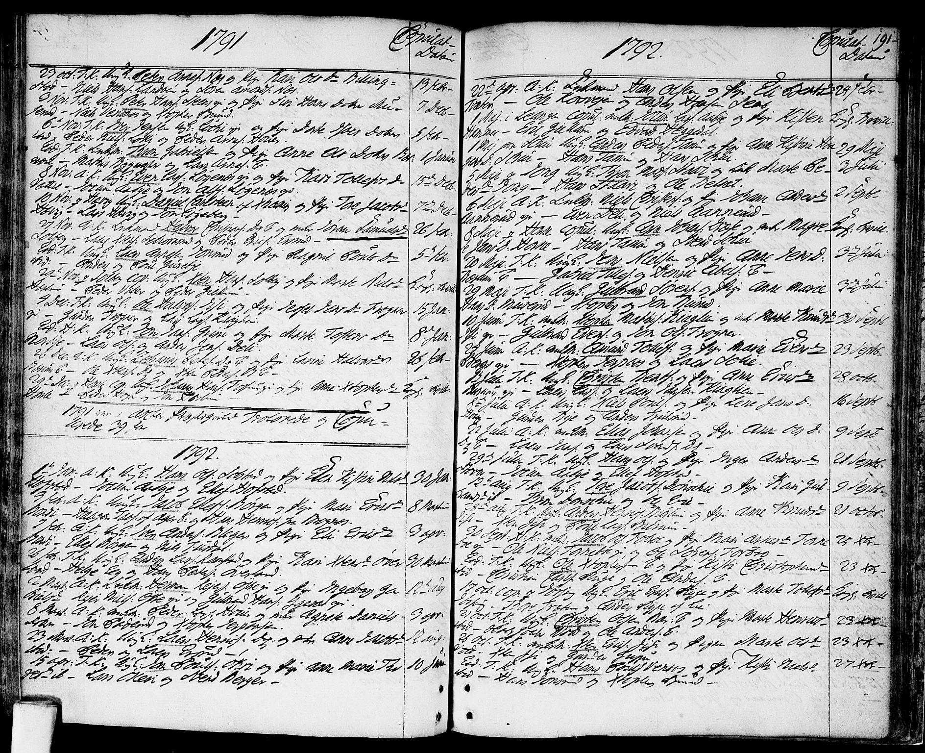 SAO, Asker prestekontor Kirkebøker, F/Fa/L0003: Ministerialbok nr. I 3, 1767-1807, s. 191